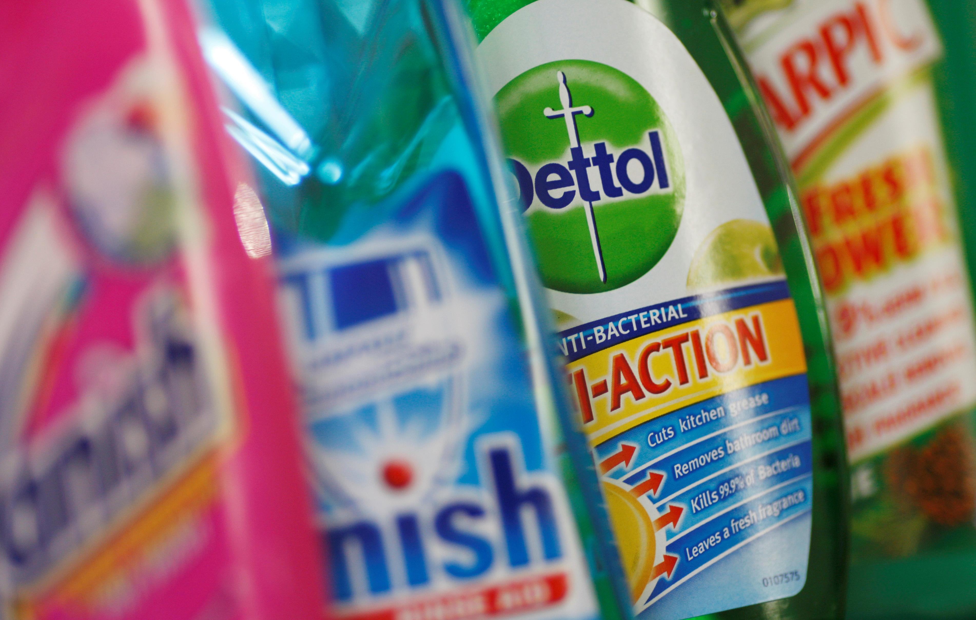 Products produced by Reckitt Benckiser; Vanish, Finish, Dettol and Harpic, are seen in London, Britain February 12, 2008. REUTERS/Stephen Hird
