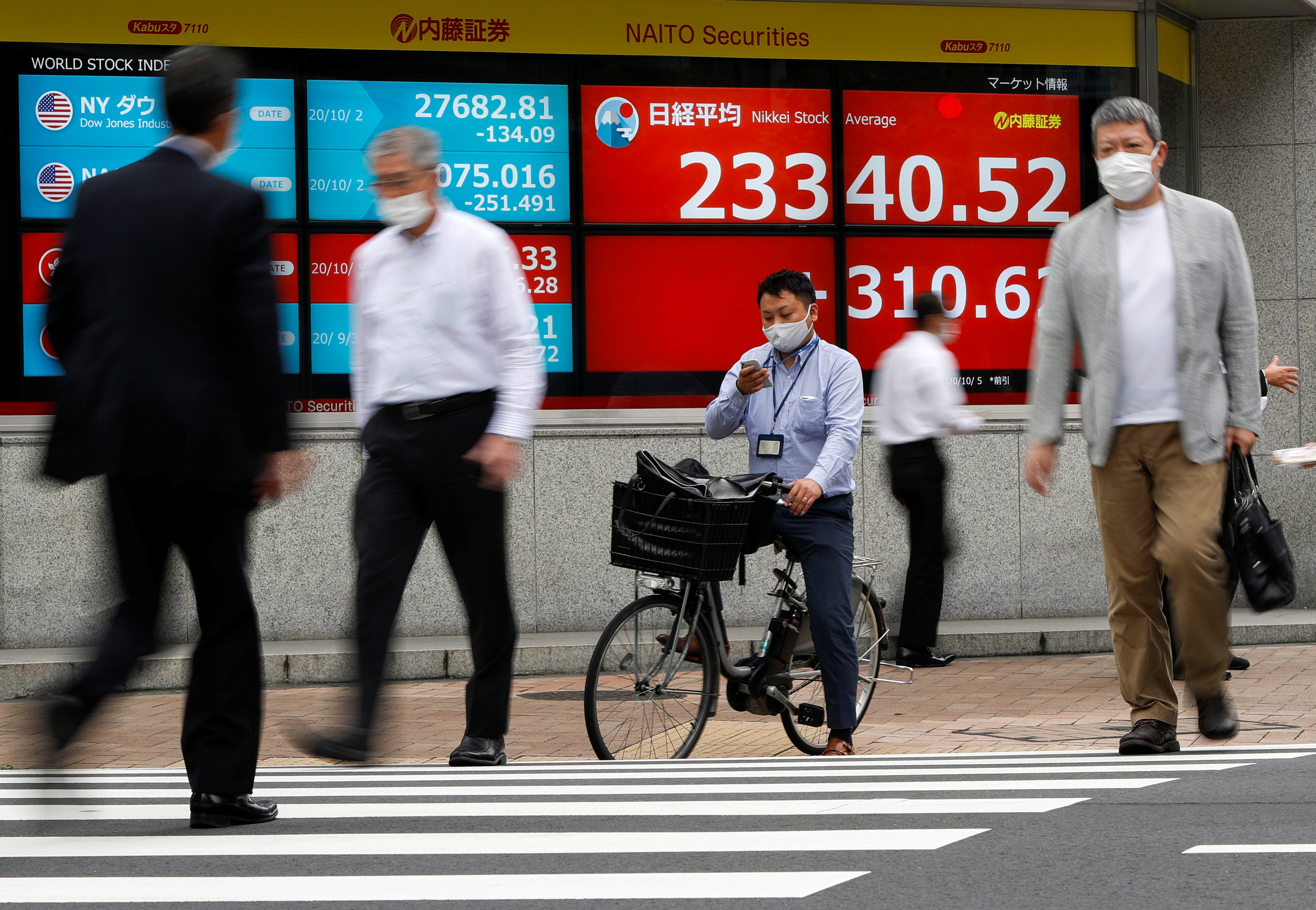 Passersby wearing protective face masks walk past a screen displaying Nikkei share average and world stock indexes outside a brokerage, amid the coronavirus disease (COVID-19) outbreak, in Tokyo, Japan October 5, 2020. Picture taken with slow shutter speed. REUTERS/Issei Kato