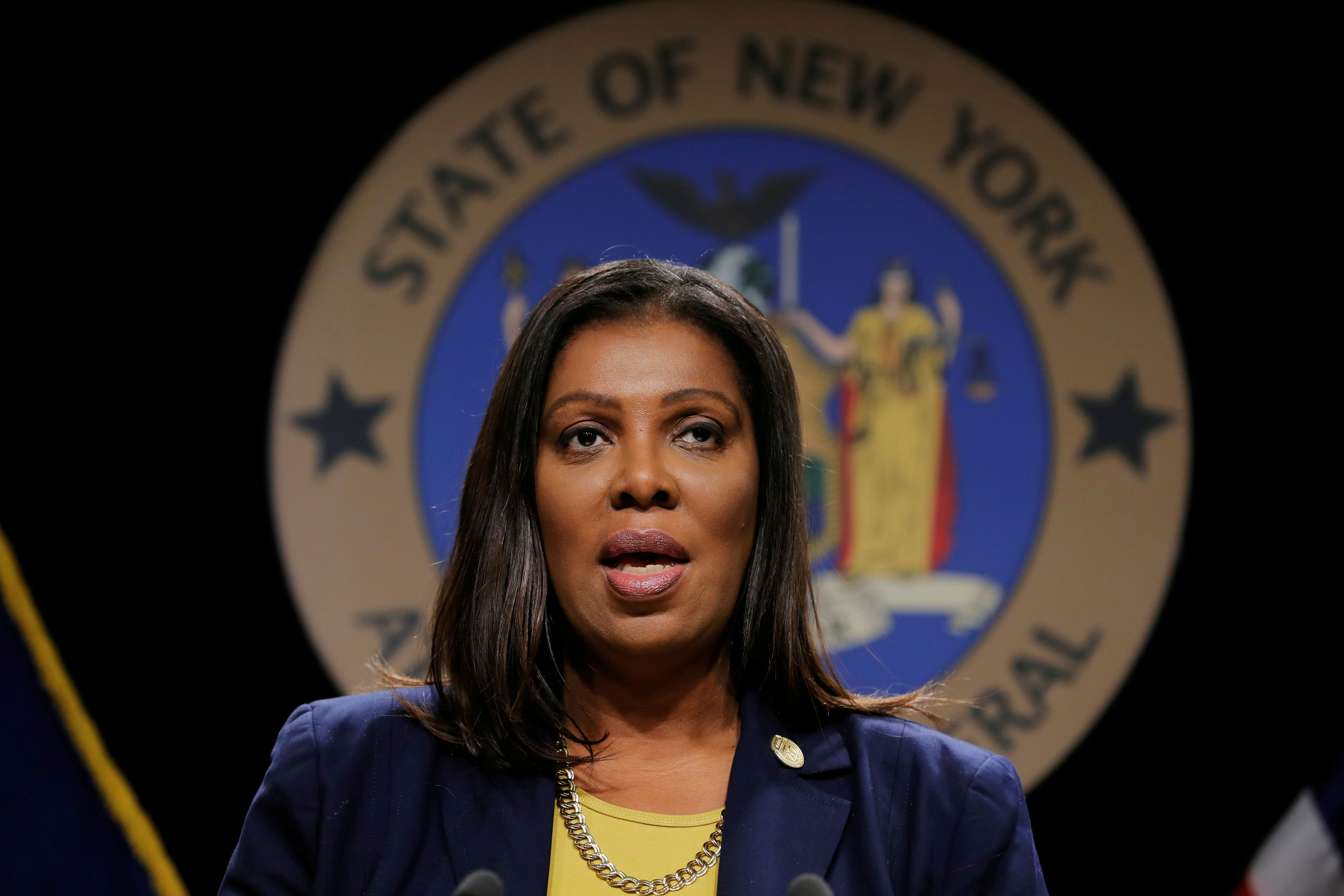 New York State Attorney General, Letitia James, announces a lawsuit by the state of New York against e-cigarette maker Juul Labs Inc in New York City, U.S., November 19, 2019.  REUTERS/Lucas Jackson/File Photo
