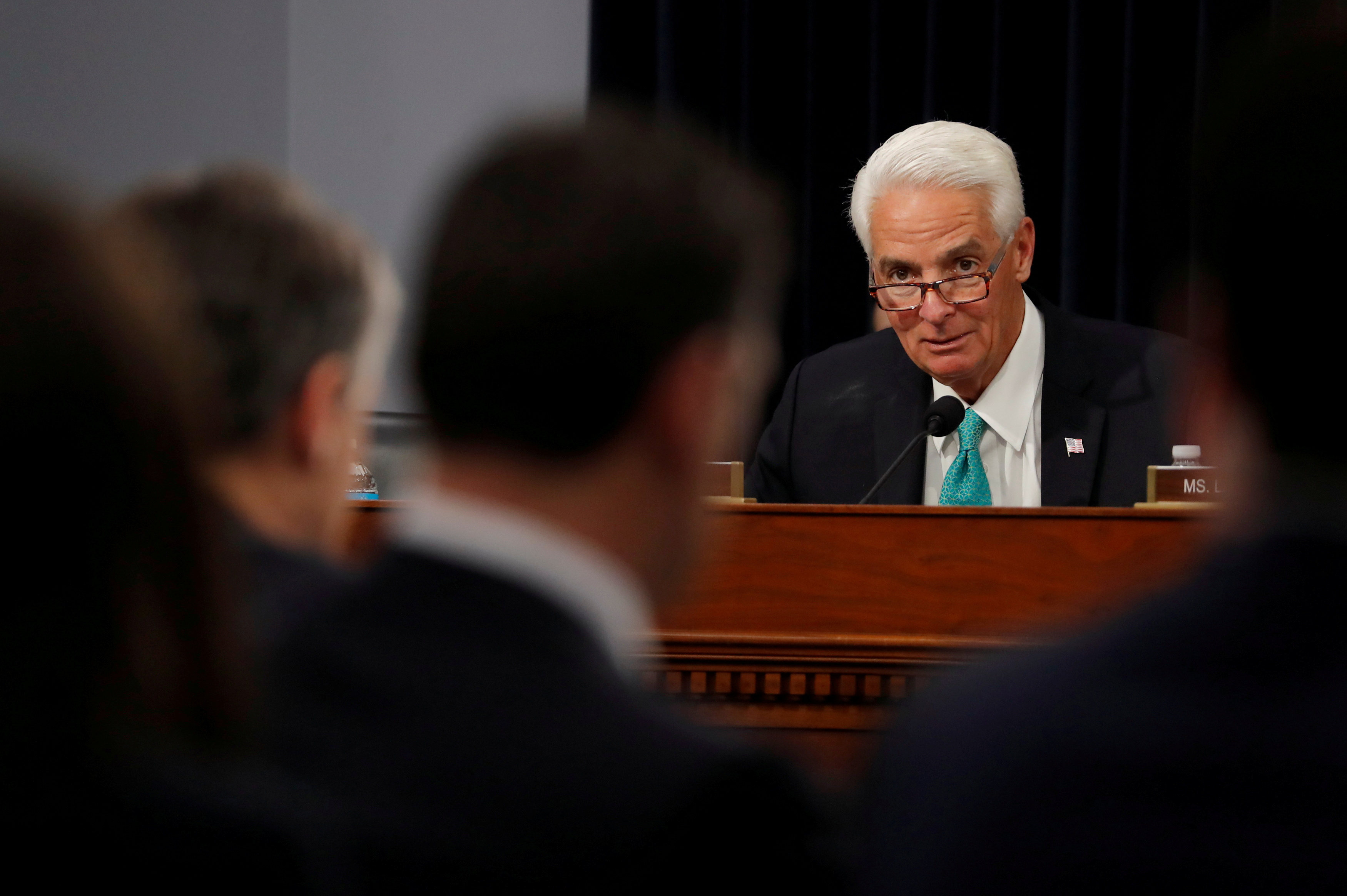 U.S. Rep. Charlie Crist (D-FL) listens to FBI Director Christopher Wray testify on the FBI's budget request before a House Appropriations Subcommittee hearing on Capitol Hill in Washington, U.S., April 4, 2019. REUTERS/Carlos Barria/File Photo
