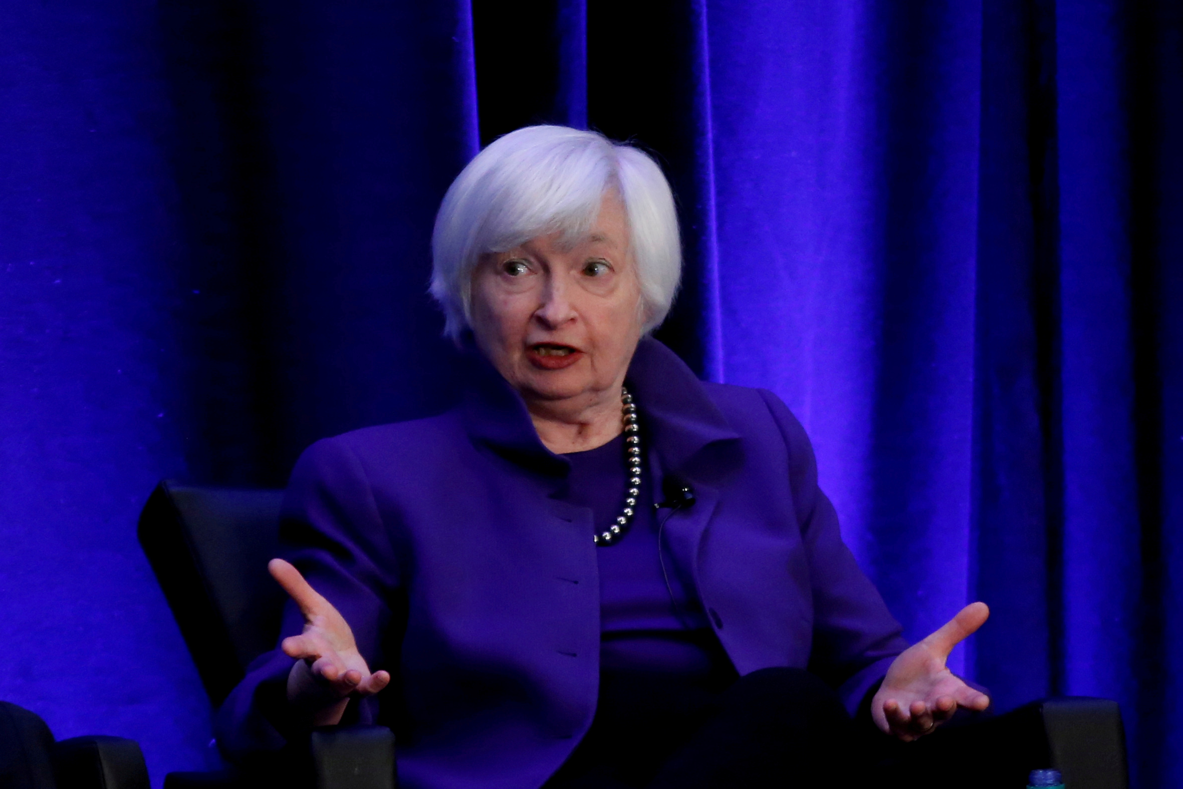 Janet Yellen speaks during a panel discussion at the American Economic Association/Allied Social Science Association 2019 meeting in Atlanta, Georgia, U.S., January 4, 2019.  REUTERS/Christopher Aluka Berry/File Photo