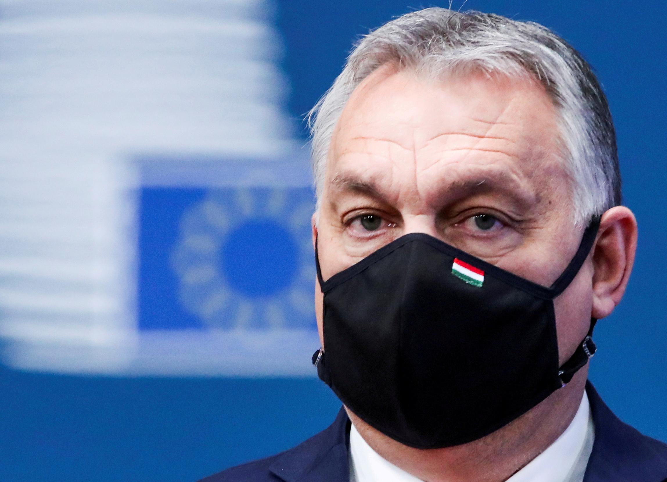 Hungary's Prime Minister Viktor Orban arrives for an EU summit amid the coronavirus disease (COVID-19) lockdown in Brussels, Belgium December 10, 2020. REUTERS/Yves Herman/Pool