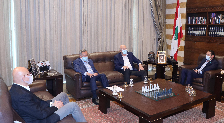 Lebanese former prime ministers, Saad al-Hariri, Najib Mikati, Fouad Siniora and Tammam Salam meet in Beirut, Lebanon July 25, 2021. Dalati Nohra/Handout via REUTERS