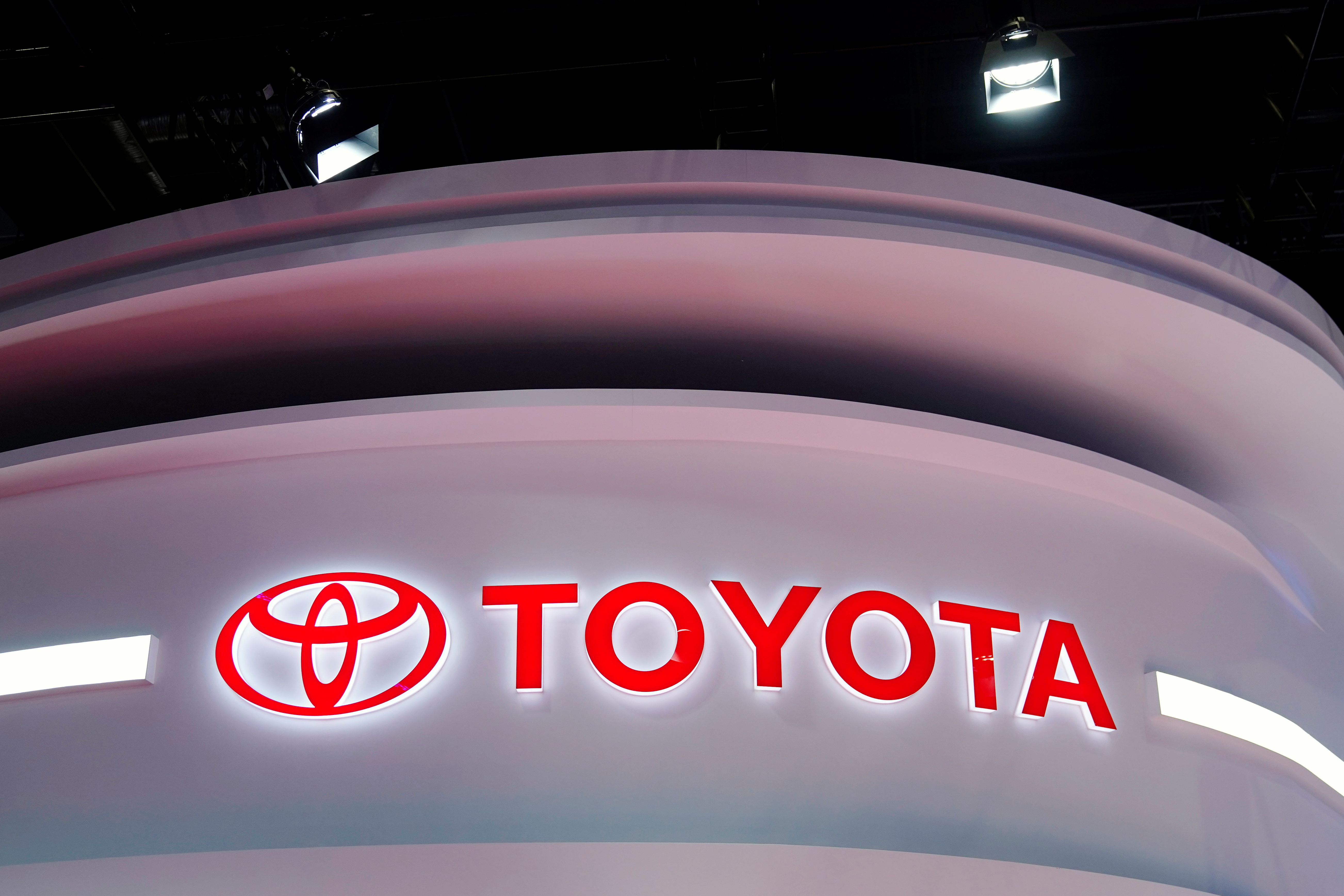 The Toyota logo is seen at its booth during a media day for the Auto Shanghai show in Shanghai, China April 19, 2021. REUTERS/Aly Song