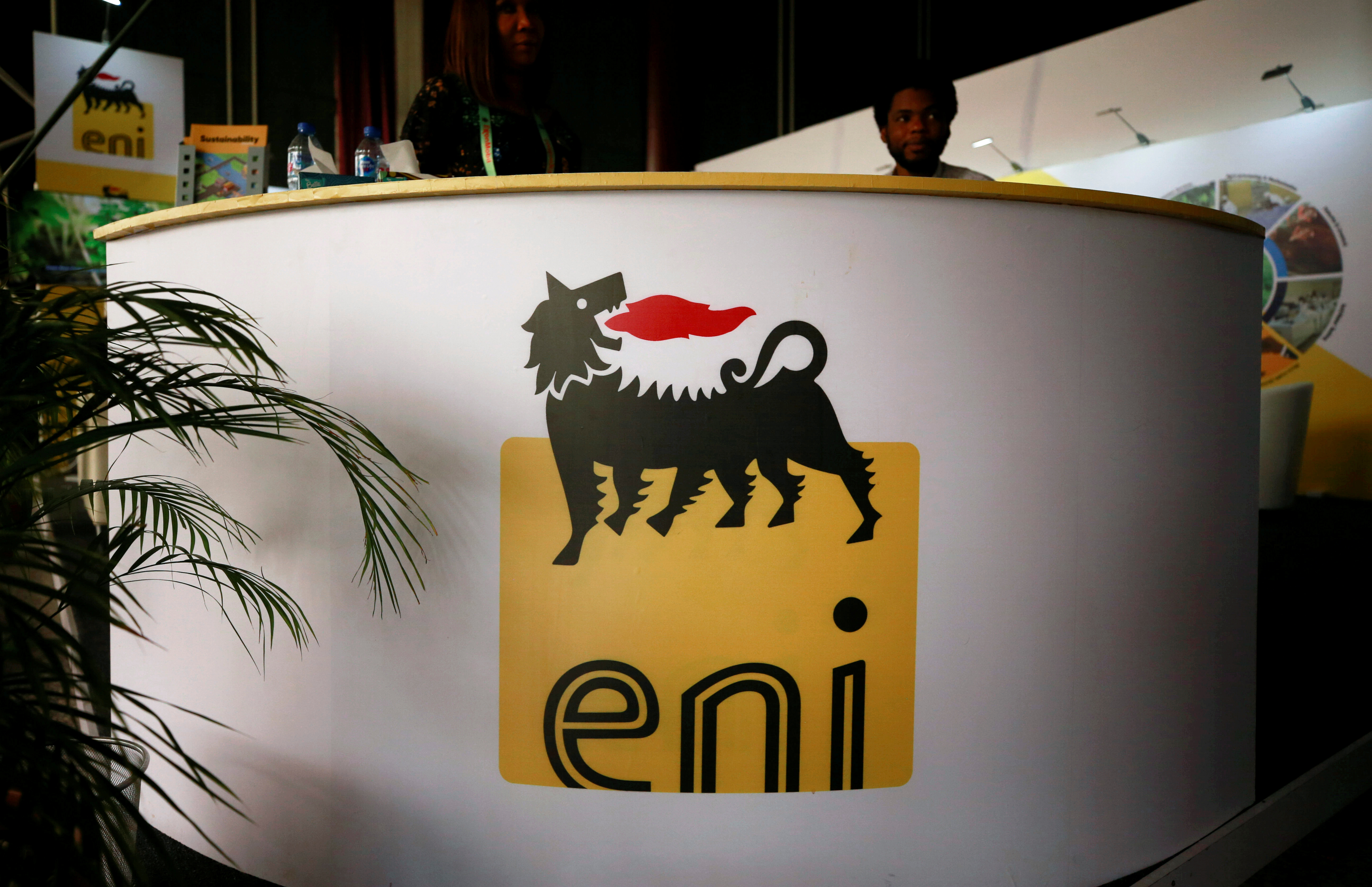 The logo of Italian energy company Eni is seen on a booth stand during the Nigeria International Petroleum Summit in Abuja, Nigeria February 11, 2020. Picture taken February 11, 2020. REUTERS/Afolabi Sotunde