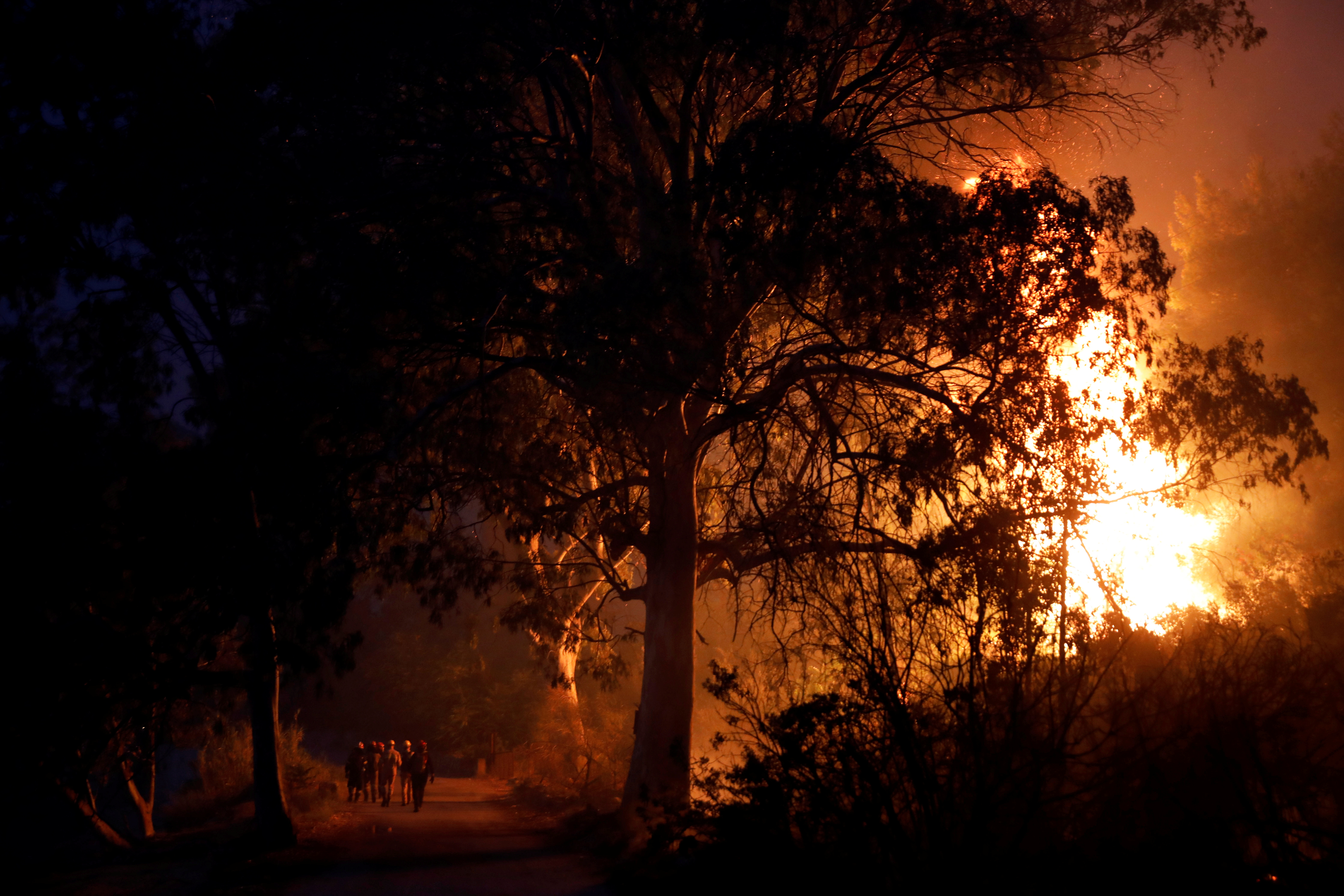 Firefighters walk as flames rise during a wildfire in the village of Rovies, on Evia island, Greece, August 4, 2021. REUTERS/Costas Baltas
