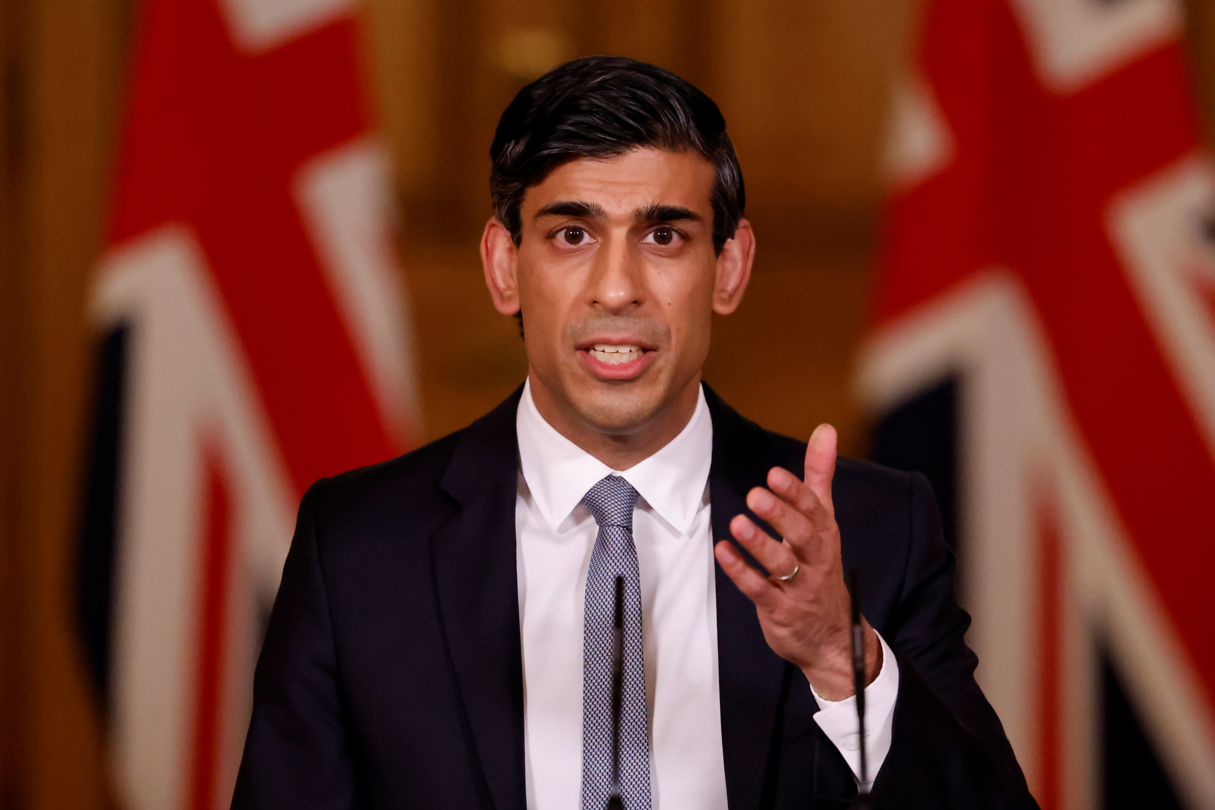 Britain's Chancellor of the Exchequer Rishi Sunak attends a virtual press conference inside 10 Downing Street in central London, Britain March 3, 2021. Tolga Akmen/Pool via REUTERS