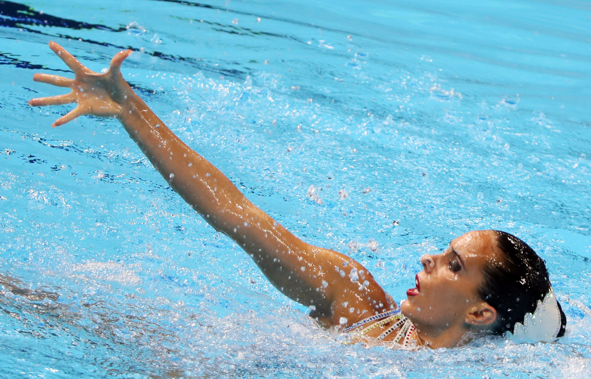 Swimming - 18th FINA World Swimming Championships - Solo Technical Final - Yeomju Gymnasium, South Korea - July 13, 2019. Ona Carbonell of Spain competes. REUTERS/Evgenia Novozhenina