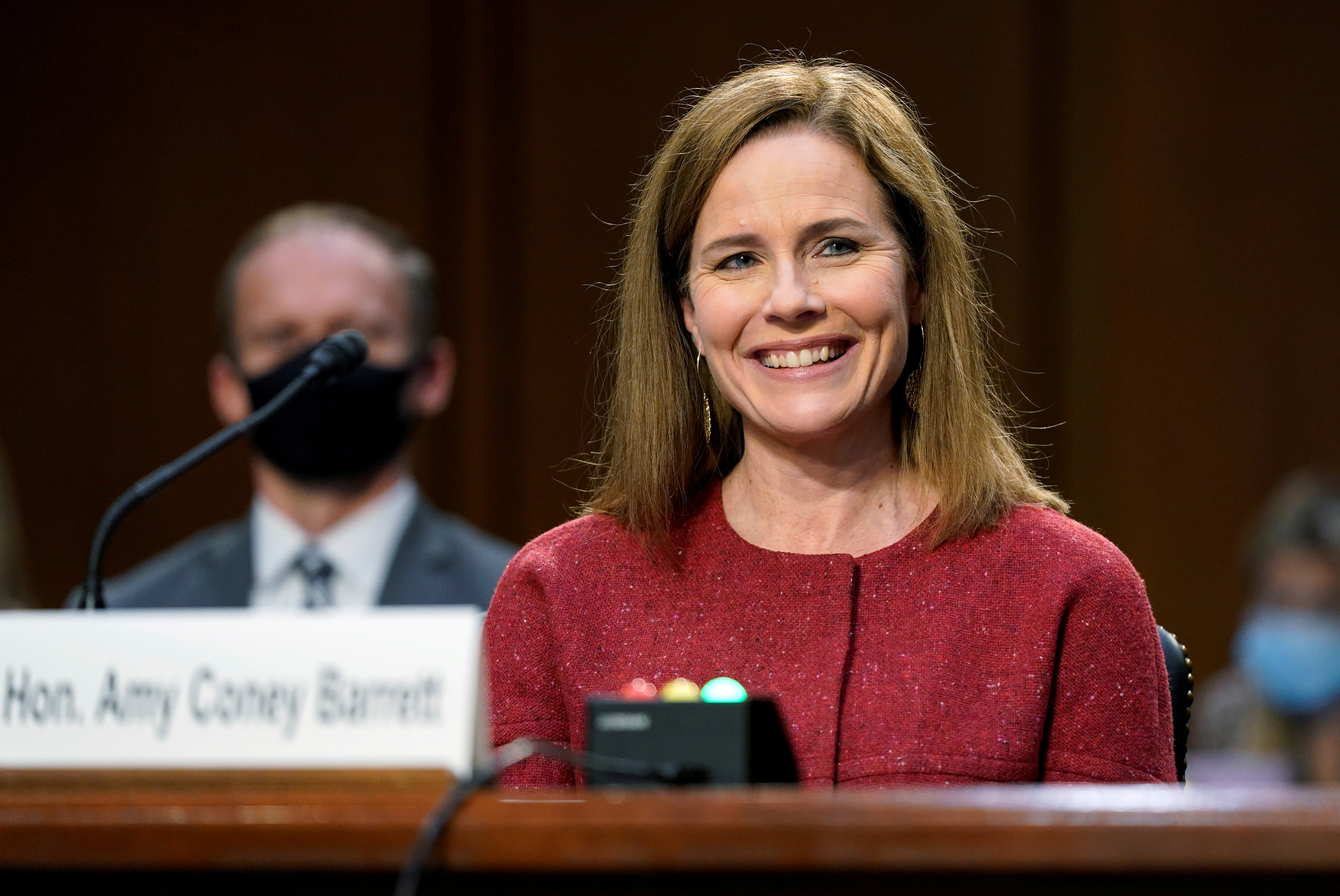 U.S. Supreme Court nominee Judge Amy Coney Barrett attends the second day of her confirmation hearing before the Senate Judiciary Committee on Capitol Hill in Washington, D.C., U.S., October 13, 2020. Patrick Semansky/Pool via REUTERS