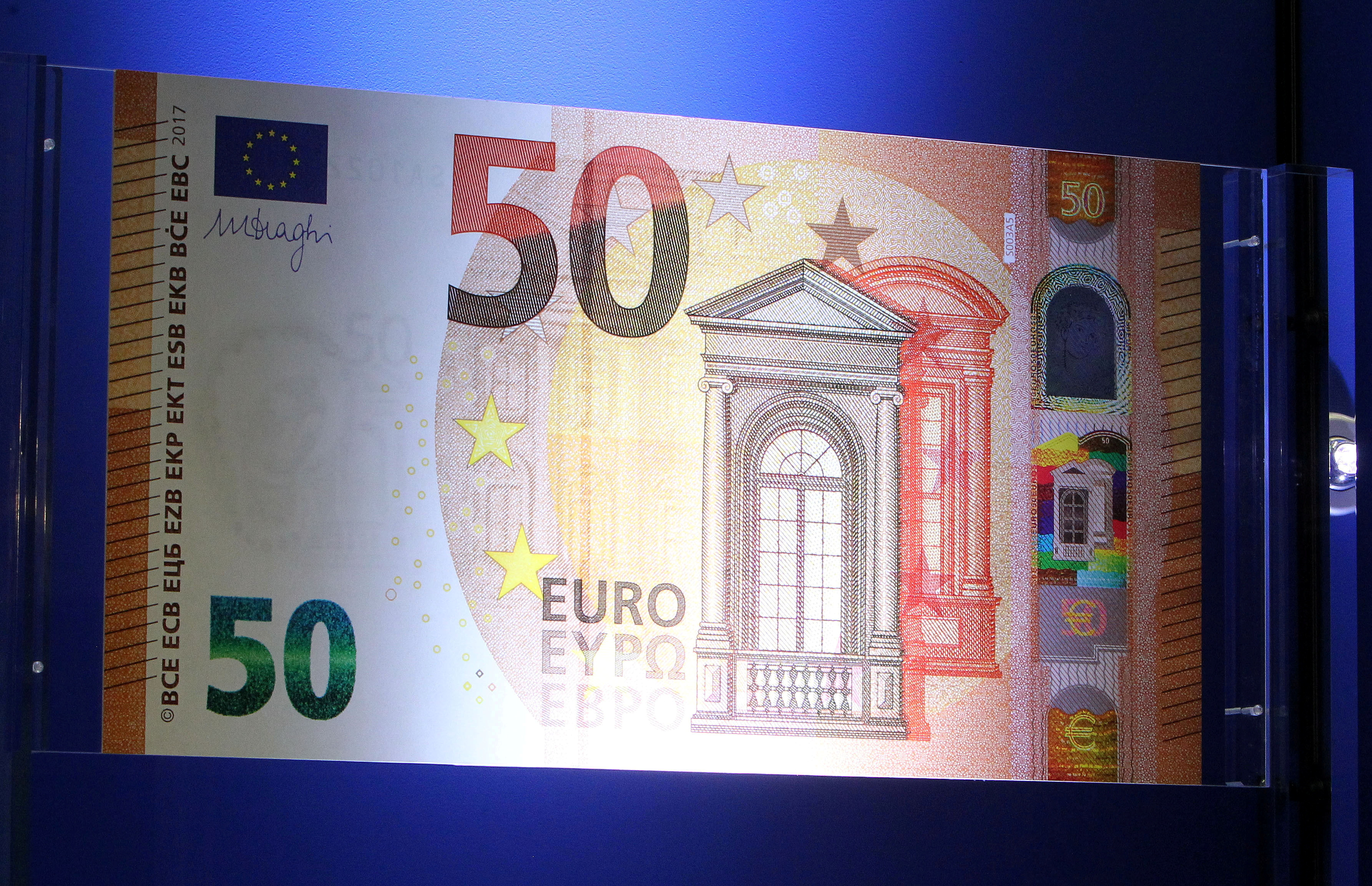 The European Central Bank (ECB) presents the new 50 euro note at the bank's headquarters in Frankfurt, Germany, July 5, 2016.  REUTERS/Ralph Orlowski