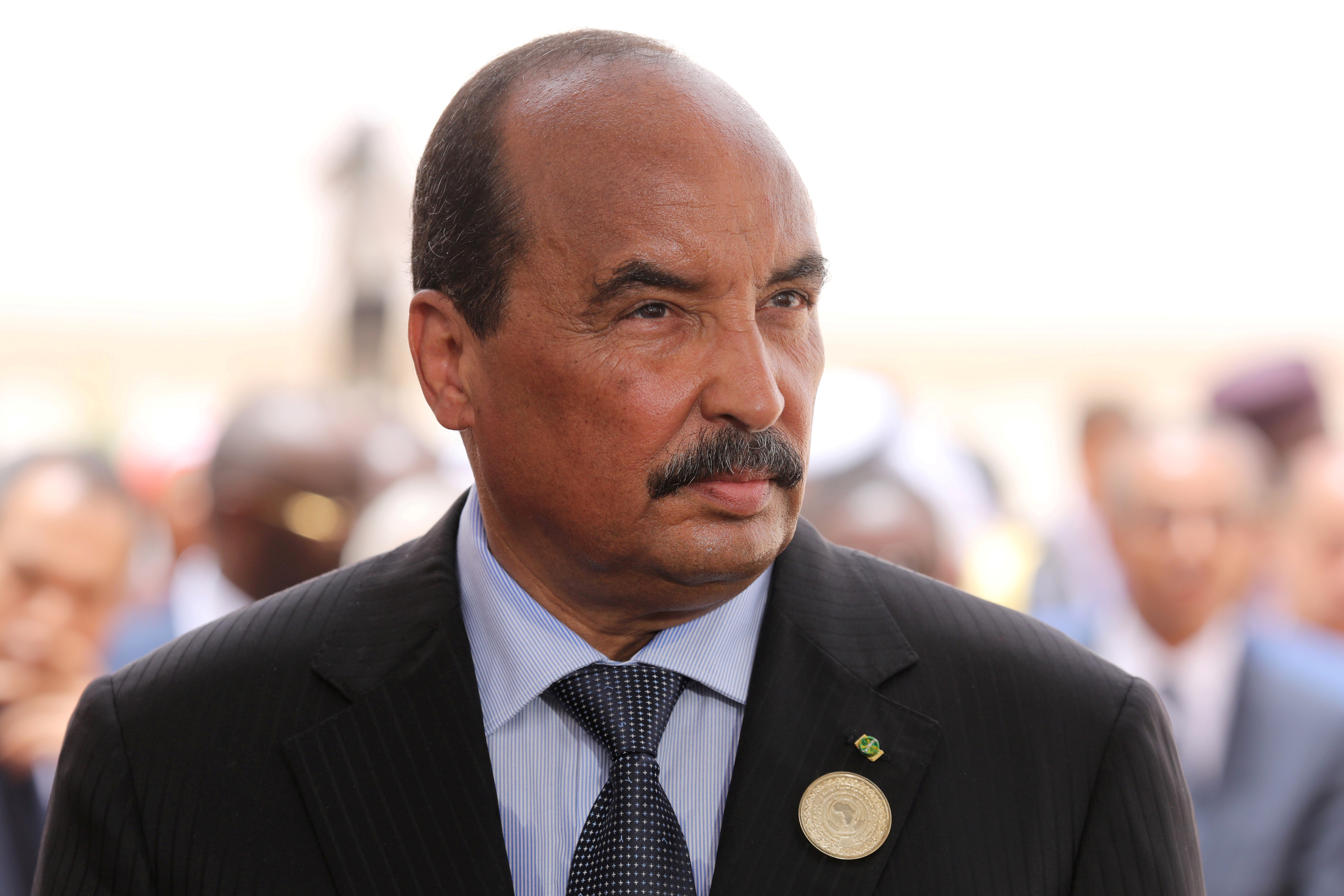 Mauritania's former President Mohamed Ould Abdel Aziz waits for the arrival of the French President at Nouakchott airport, Mauritania, July 2, 2018. Ludovic Marin/Pool via Reuters