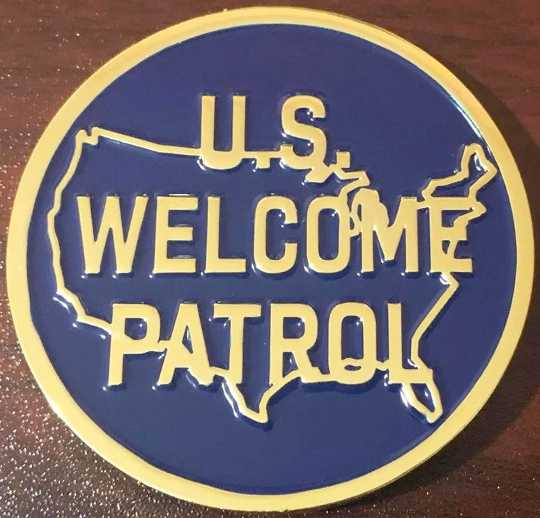 An unofficial border patrol coin, which refashions the U.S. Border Patrol logo to read