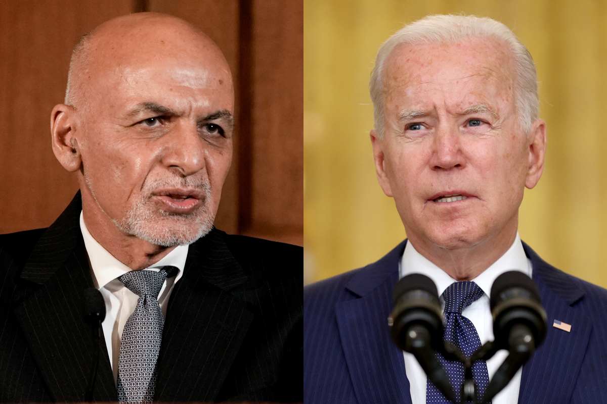 Afghanistan's President Ashraf Ghani (L) and U.S. President Joe Biden are seen in this combination photo. REUTERS/Ken Cedeno/Jonathan Ernst
