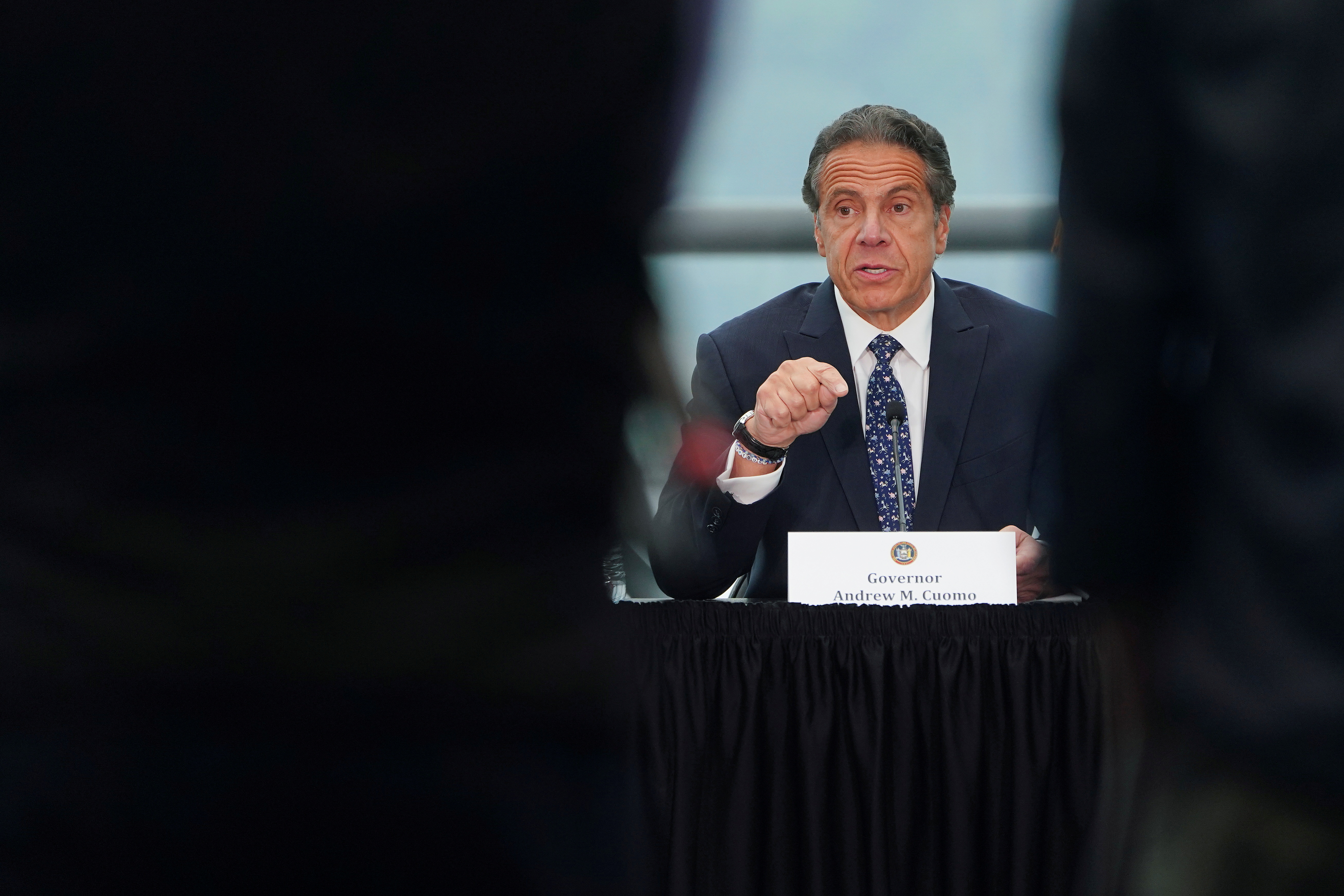 New York Governor Andrew Cuomo gives a press conference in the Manhattan borough of New York City, New York, U.S., June 2, 2021.  REUTERS/Carlo Allegri/File Photo