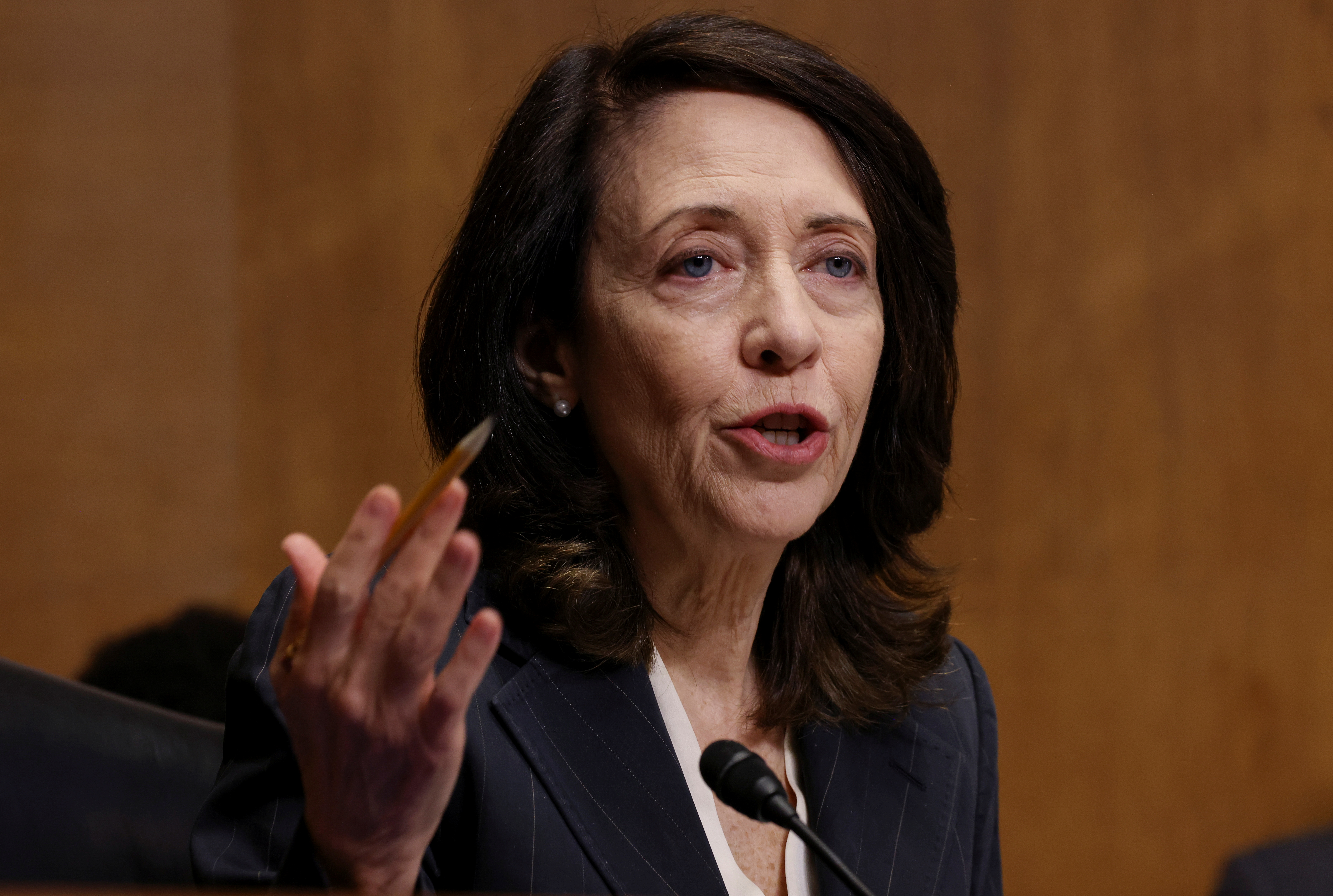 U.S. Senator Maria Cantwell (D-WA) speaks during a Senate Finance Committee hearing on the IRS budget request on Capitol Hill in Washington U.S., June 8, 2021. REUTERS/Evelyn Hockstein/Pool