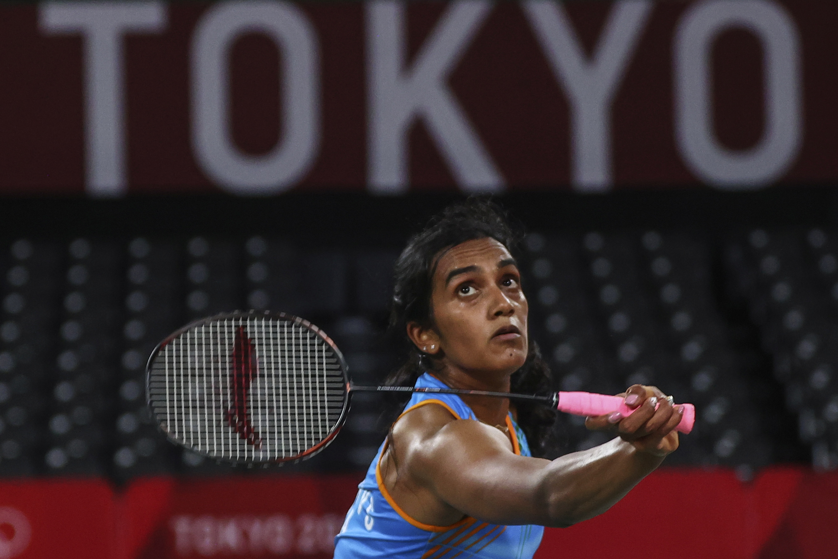 Tokyo 2020 Olympics - Badminton - Women's Singles - Bronze medal match - MFS - Musashino Forest Sport Plaza, Tokyo, Japan – August 1, 2021.  P.V. Sindhu of India in action during the match against He Bingjiao of China. REUTERS/Leonhard Foeger