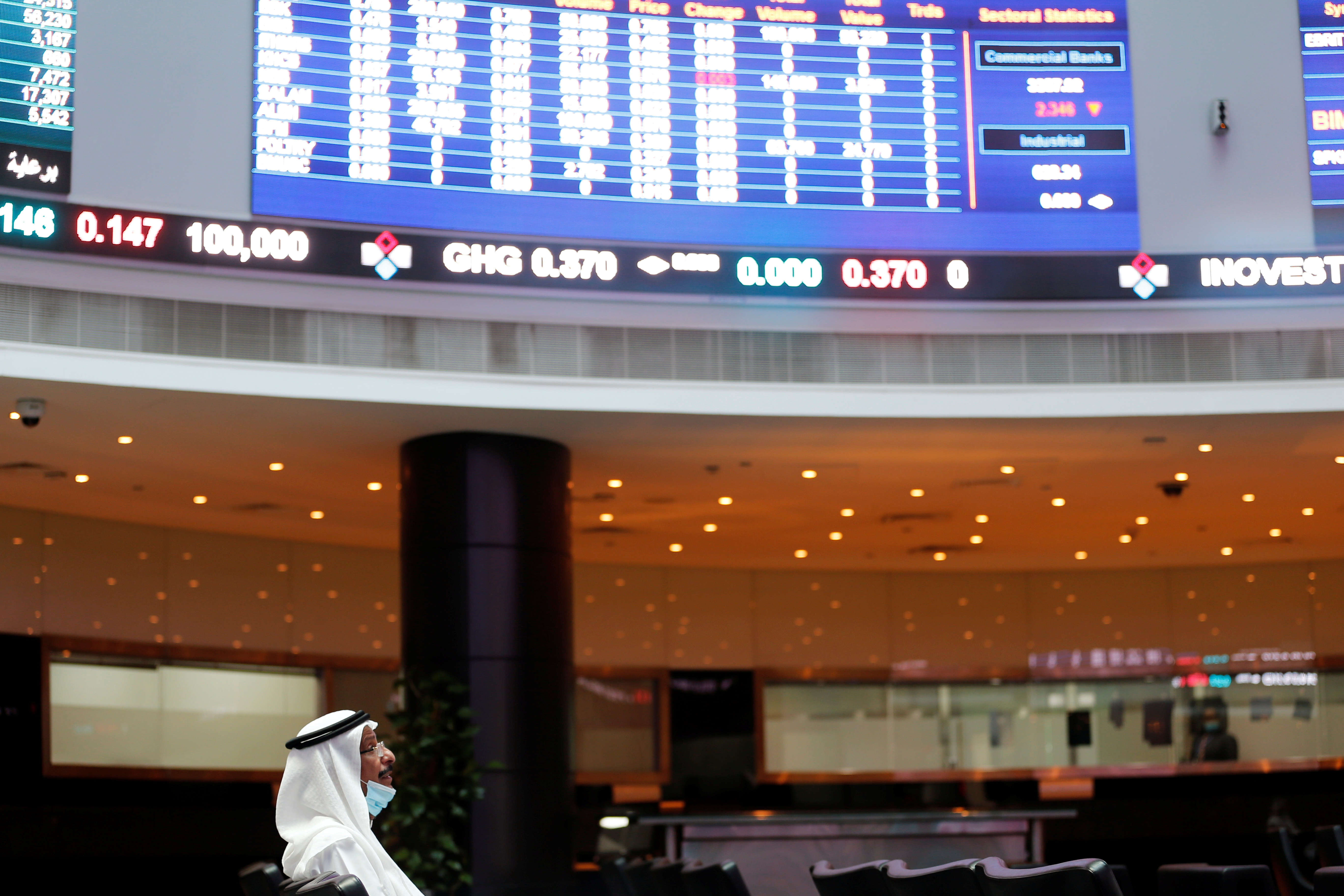 A trader looks on near electronic boards showing stock market data at Bahrain Bourse after Joe Biden won the U.S. presidency, in Manama, Bahrain, November 8, 2020. REUTERS/Hamad I Mohammed