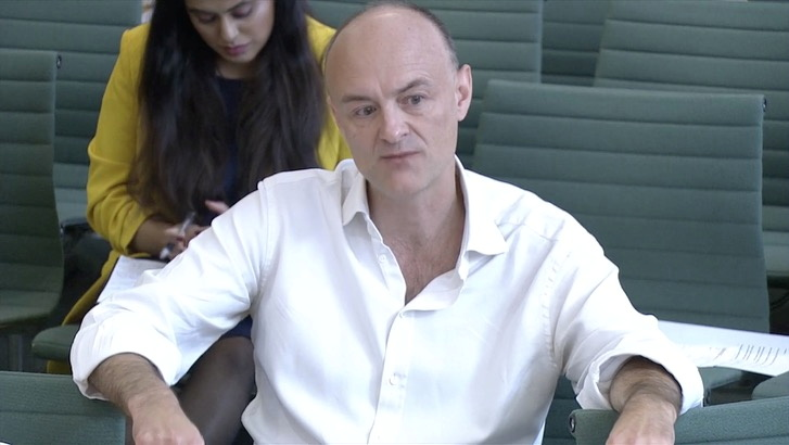 Dominic Cummings, former special advisor for Britain's Prime Minister Boris Johnson faces questions from lawmakers over the government's COVID-19 response, in London,Britain, May 26, 2021, in this screen grab taken from video. Reuters TV via REUTERS.