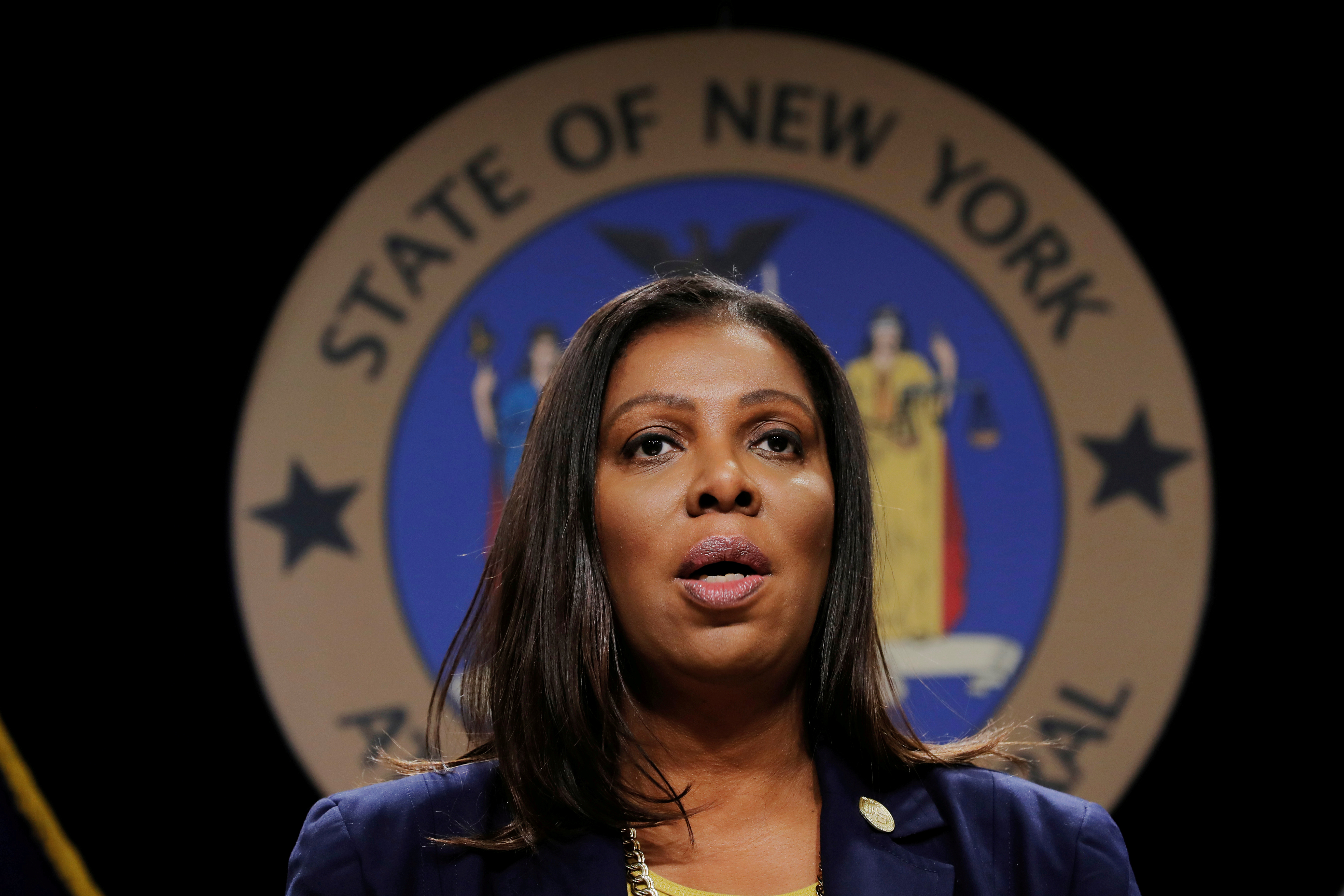 New York State Attorney General Letitia James in New York City, U.S., November 19, 2019.  REUTERS/Lucas Jackson