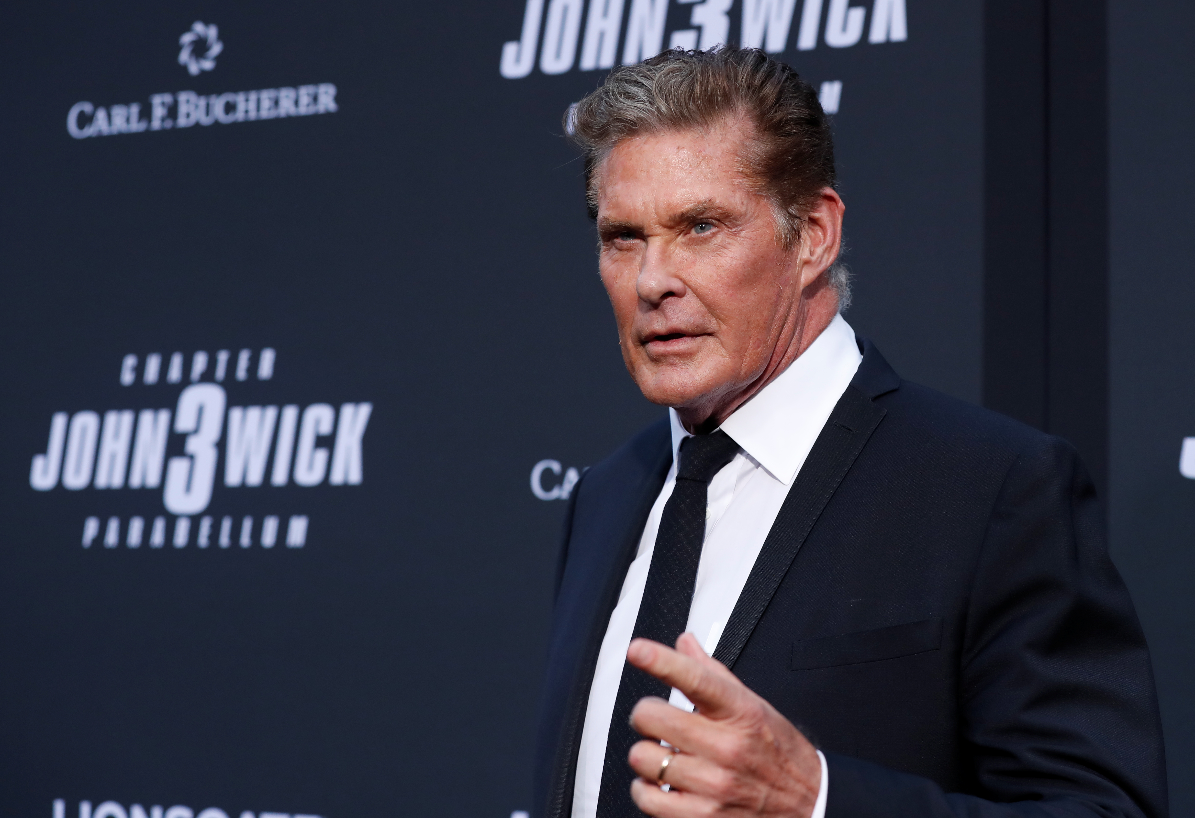 Actor David Hasselhoff arrives for a screening of the movie