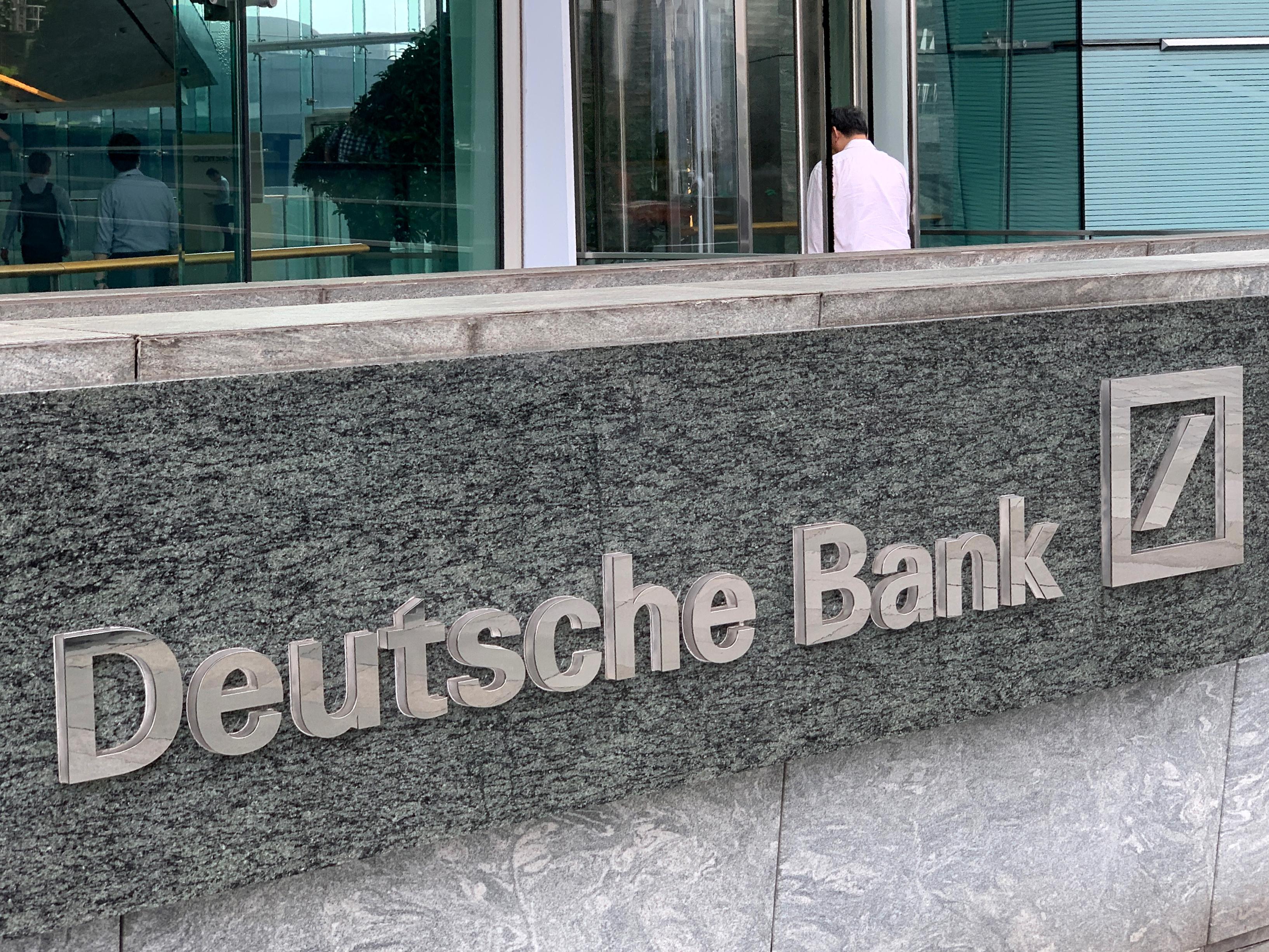The logo of Deutsche bank is seen in Hong Kong, China July 8, 2019. REUTERS/Tyrone Siu/Files