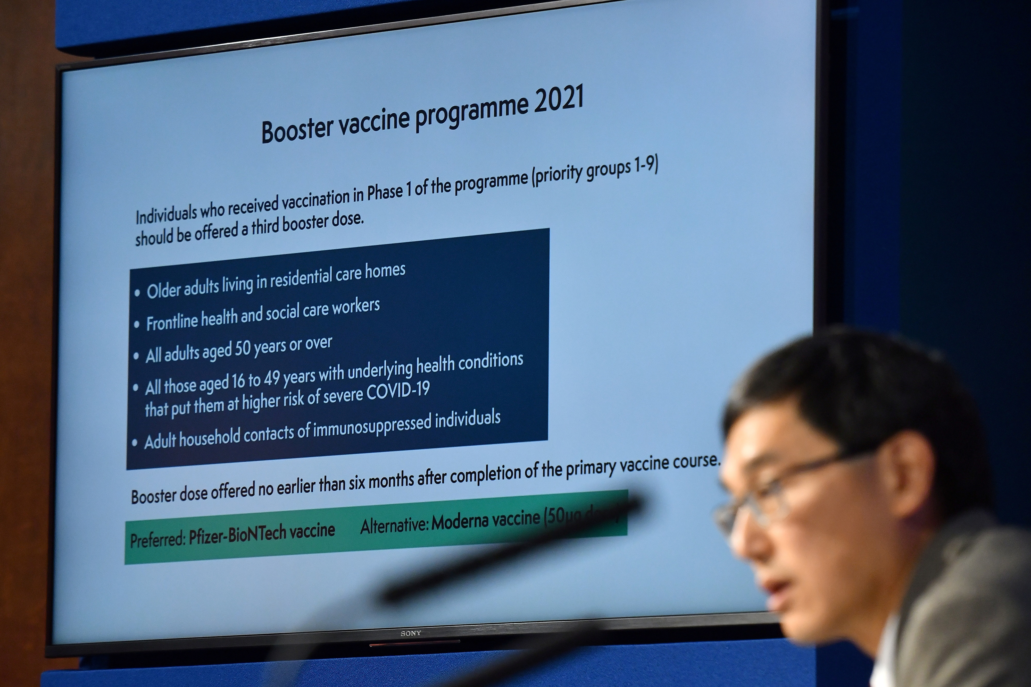 Chair of the Joint Committee on Vaccination and Immunisation (JCVI) Professor Wei Shen Lim attends a media briefing on COVID-19 at Downing Street in London, Britain September 14, 2021.  Justin Tallis/Pool via REUTERS