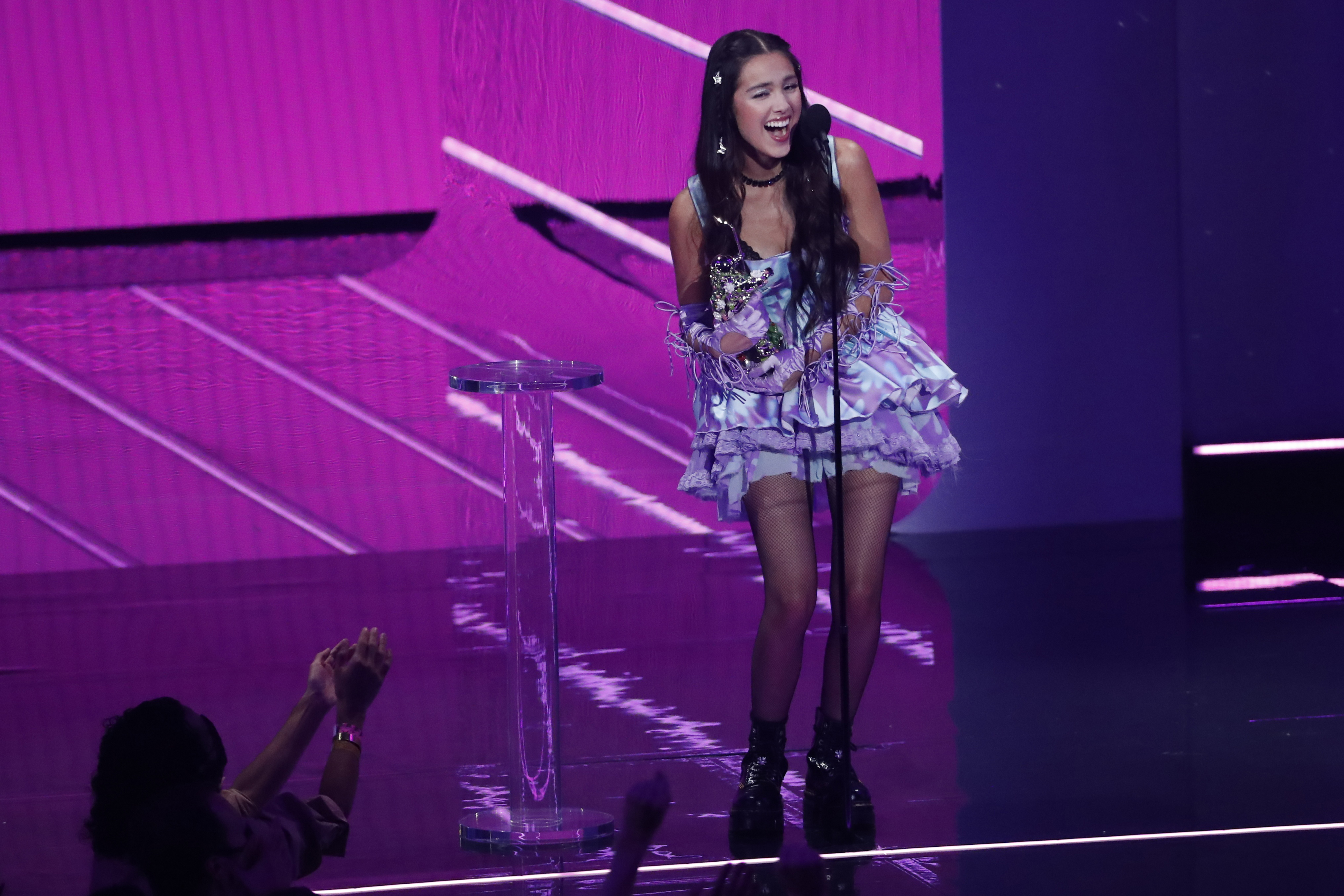 2021 MTV Video Music Awards - Show - Barclays Center, Brooklyn, New York, U.S., September 12, 2021 - Olivia Rodrigo accepts the award for Song of the Year for