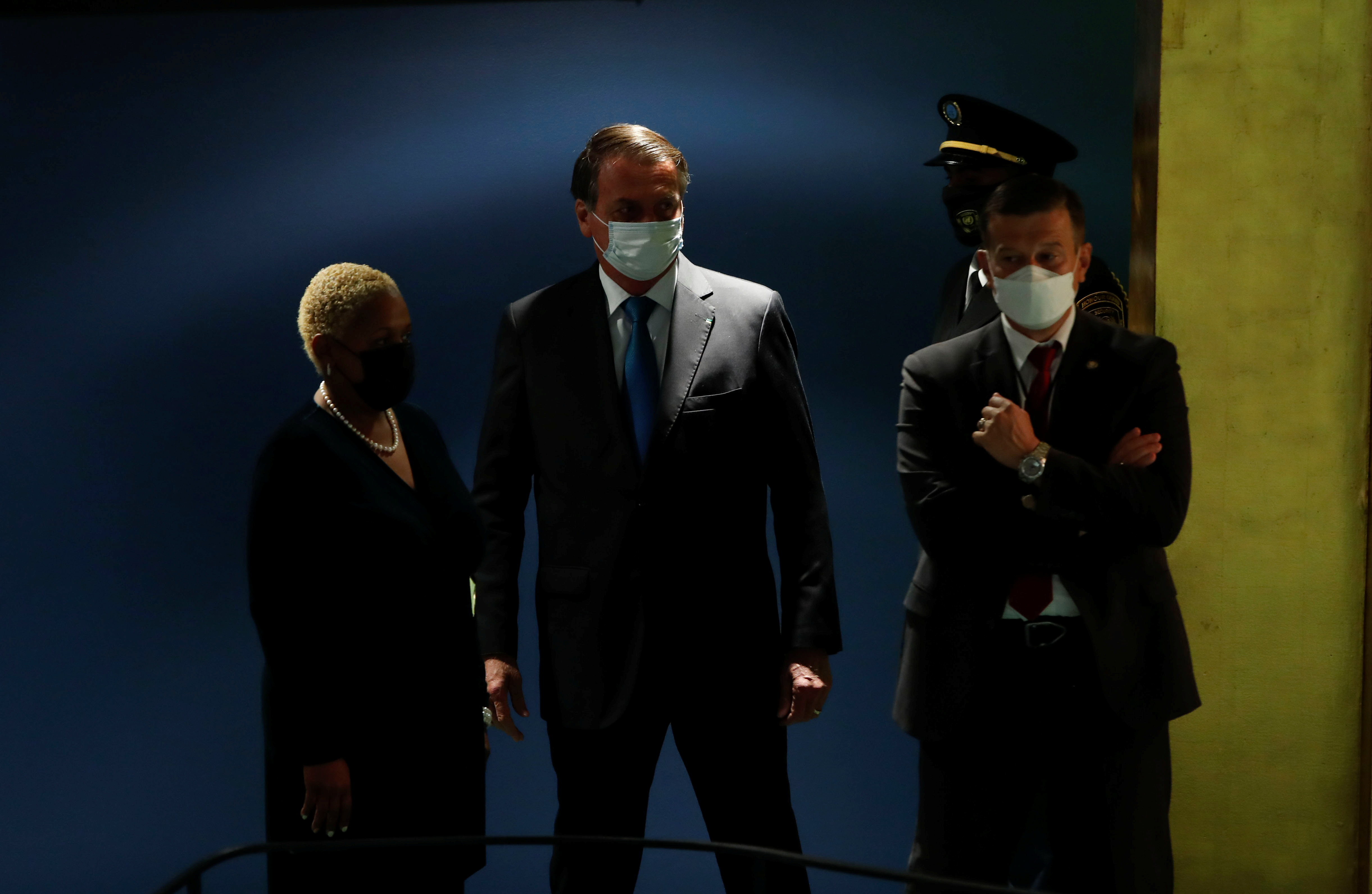 Brazil's President Jair Bolsonaro arrives to speak during the 76th Session of the U.N. General Assembly in New York City, U.S., September 21, 2021.  REUTERS/Eduardo Munoz/Pool