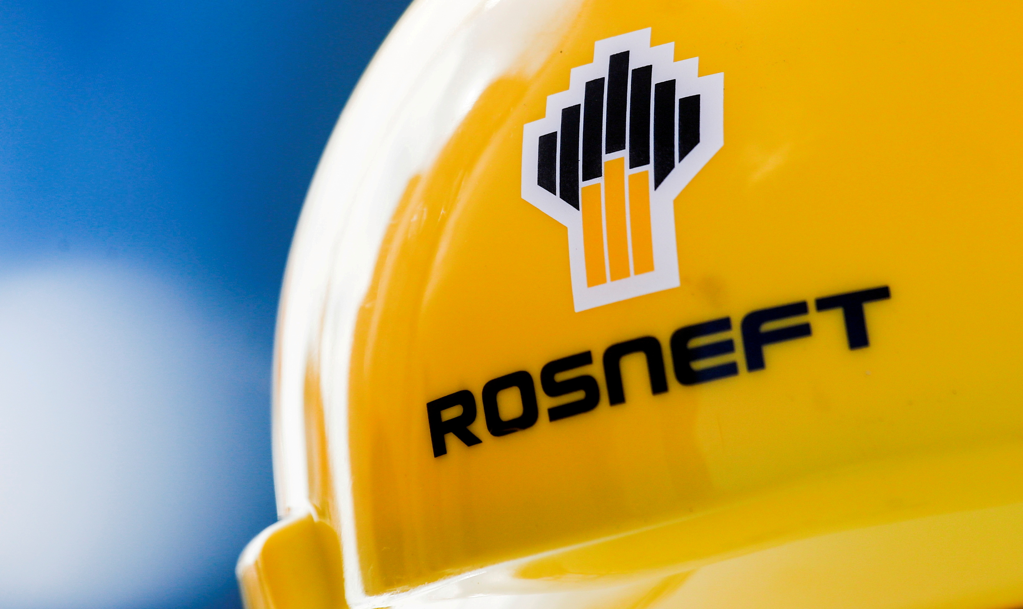 The Rosneft logo is pictured on a safety helmet in Vung Tau, Vietnam April 27, 2018. Picture taken April 27, 2018. REUTERS/Maxim Shemetov