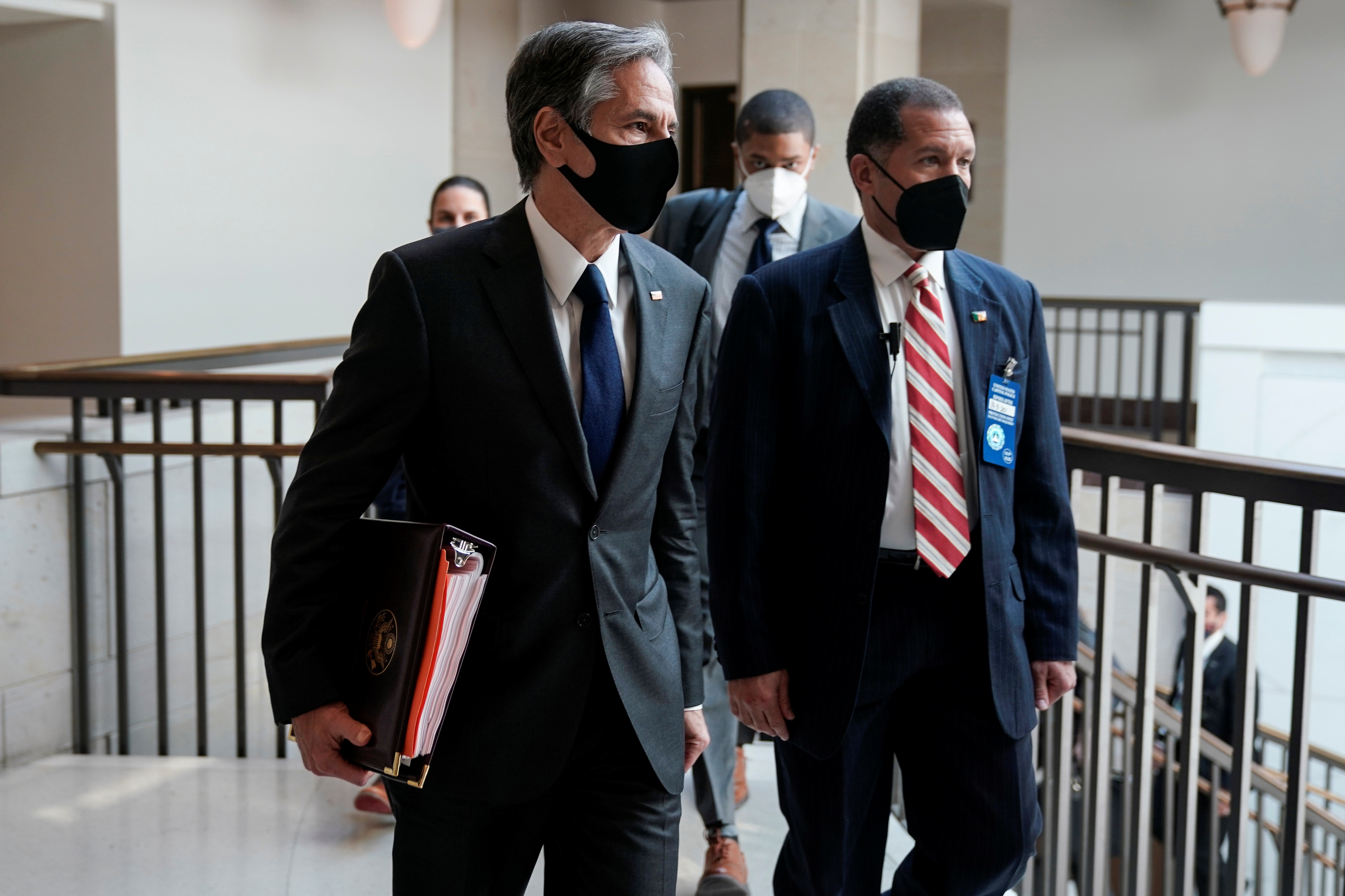 U.S. Secretary of State Antony Blinken departs after briefing Senators on Capitol in Washington, U.S., on March 11, 2021. REUTERS/Joshua Roberts
