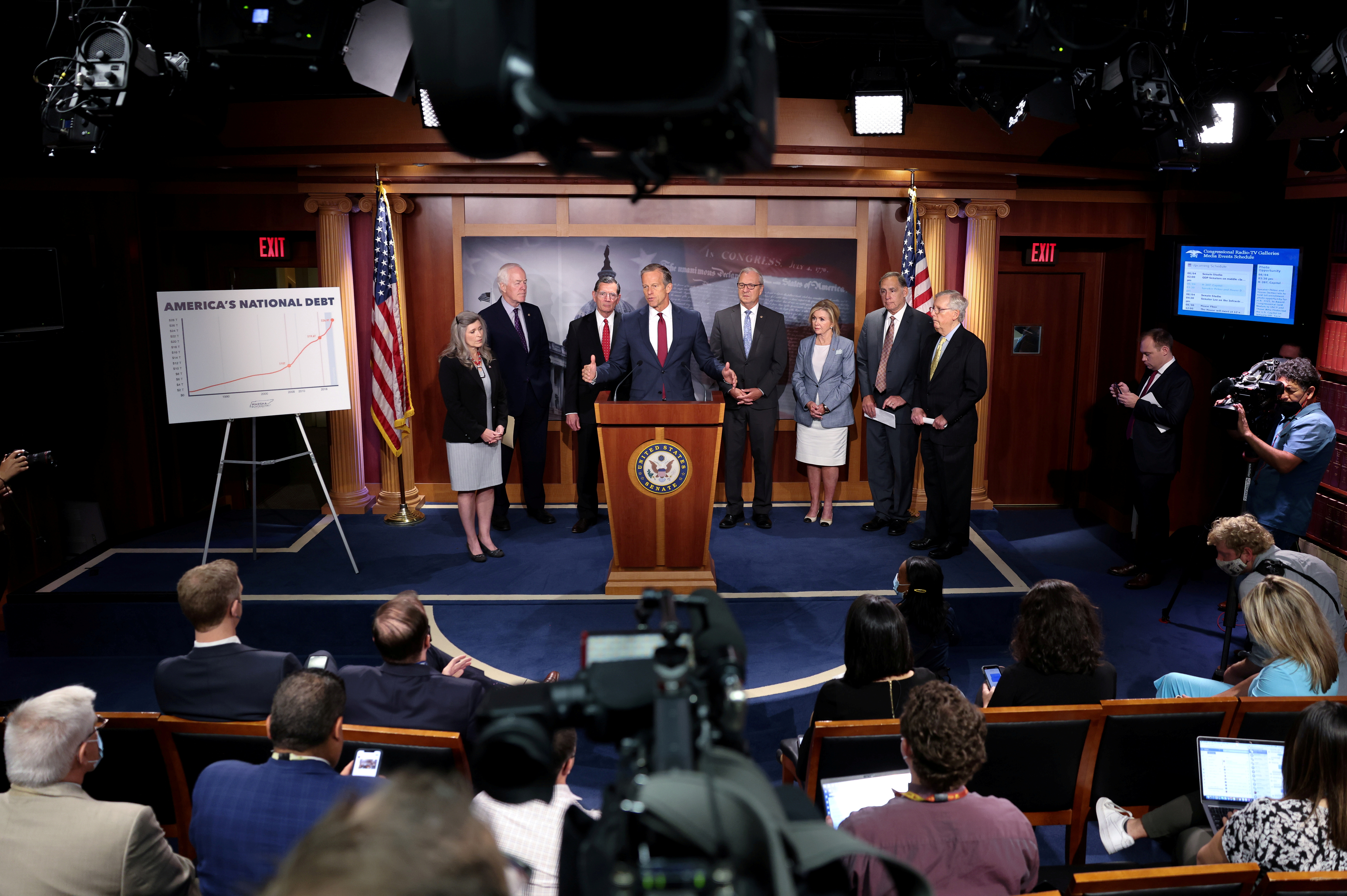 U.S. Senate Minority Whip John Thune (R-SD) speaks during a Republican news conference about potential Democratic tax hikes and the national debt at the U.S. Capitol in Washington, DC, U.S., August 4, 2021. REUTERS/Evelyn Hockstein/File Photo