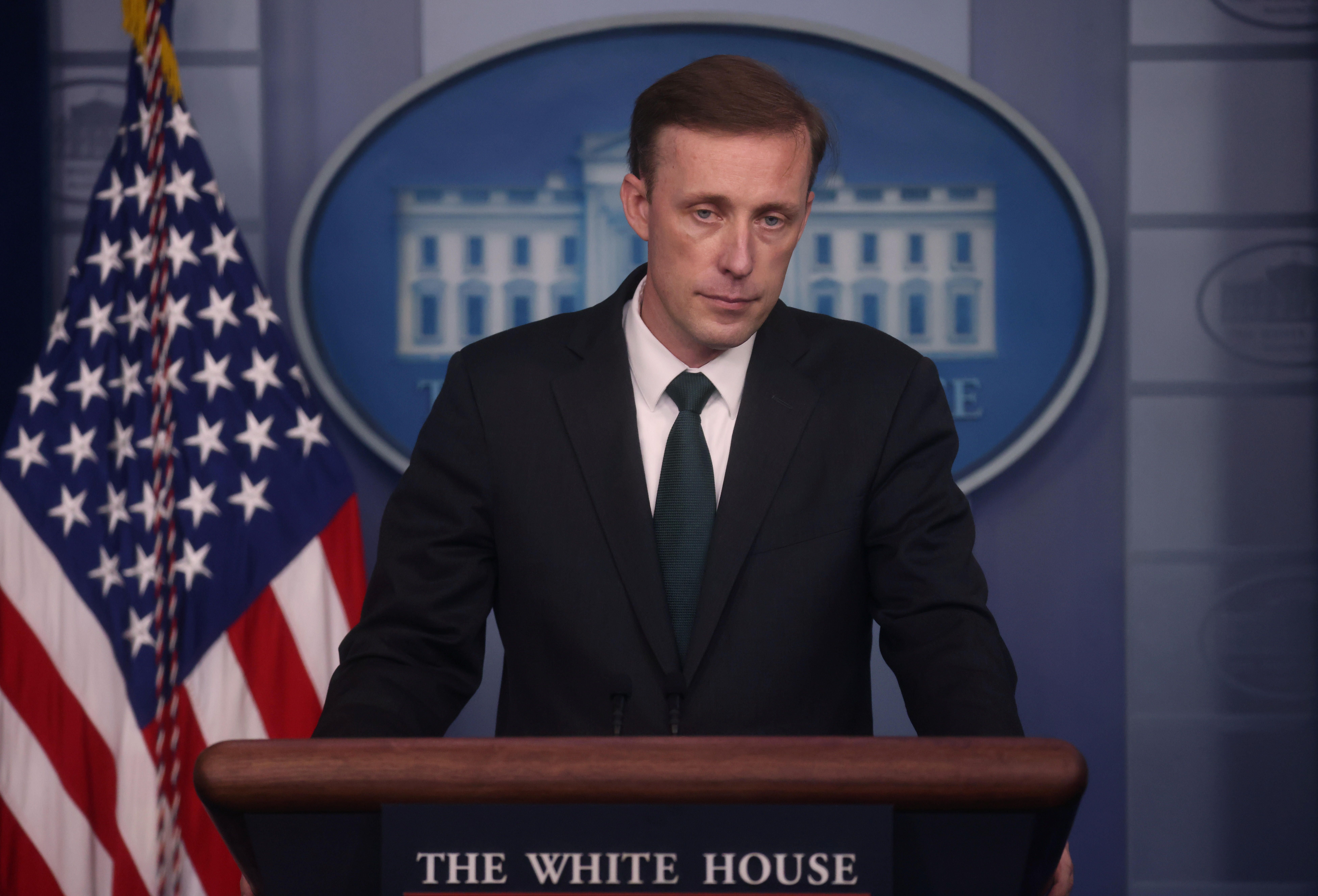 U.S. national security adviser Jake Sullivan holds a news briefing about the situation in Afghanistan at the White House in Washington, U.S., August 17, 2021. REUTERS/Leah Millis
