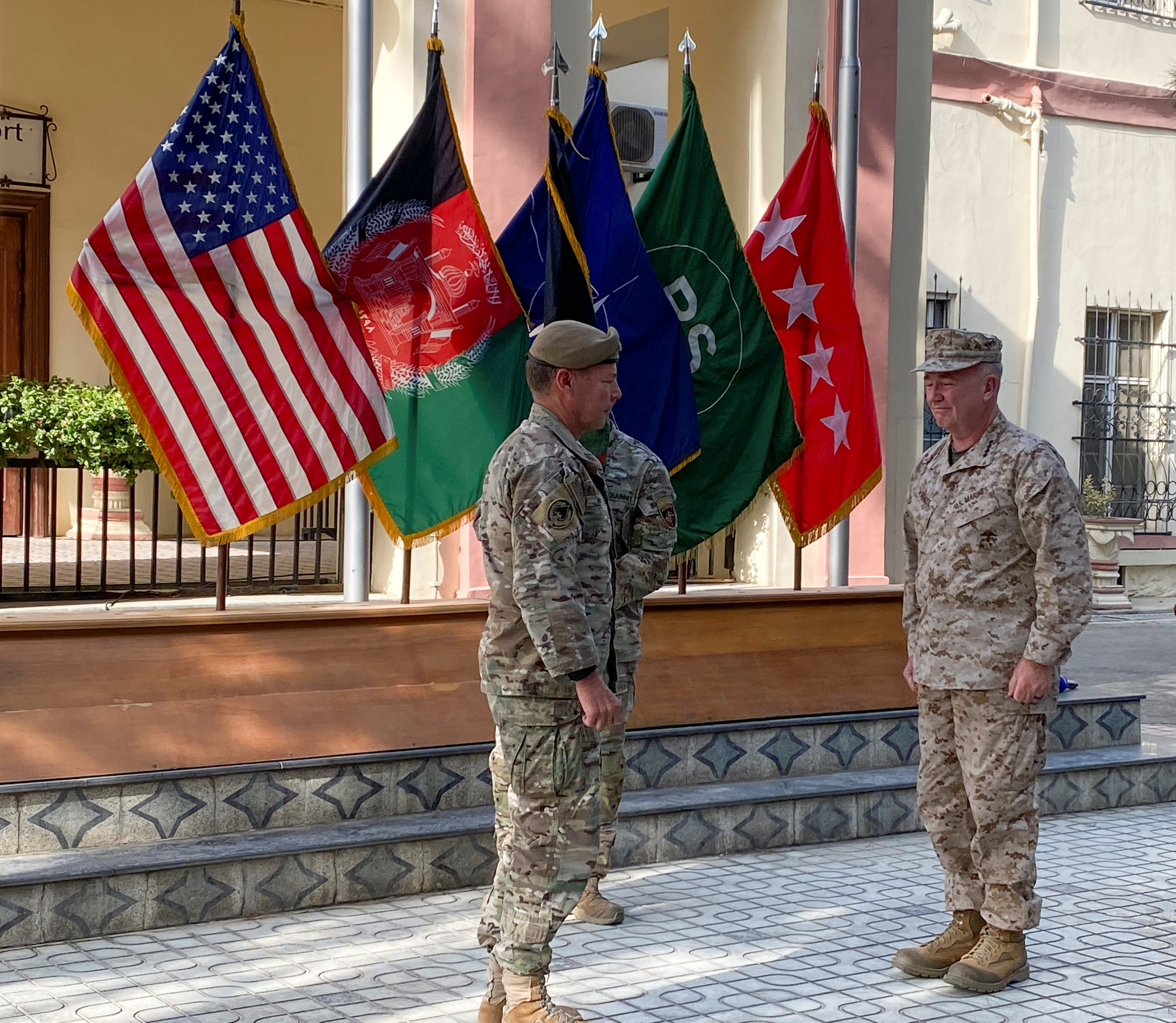 U.S. General Austin Miller, (L) and U.S. General Kenneth McKenzie,(R), at a ceremony in Kabul, as Miller relinquishes command during the final phase of America's withdrawal from the war in Afghanistan July 12, 2021.REUTERS/Phil Stewart
