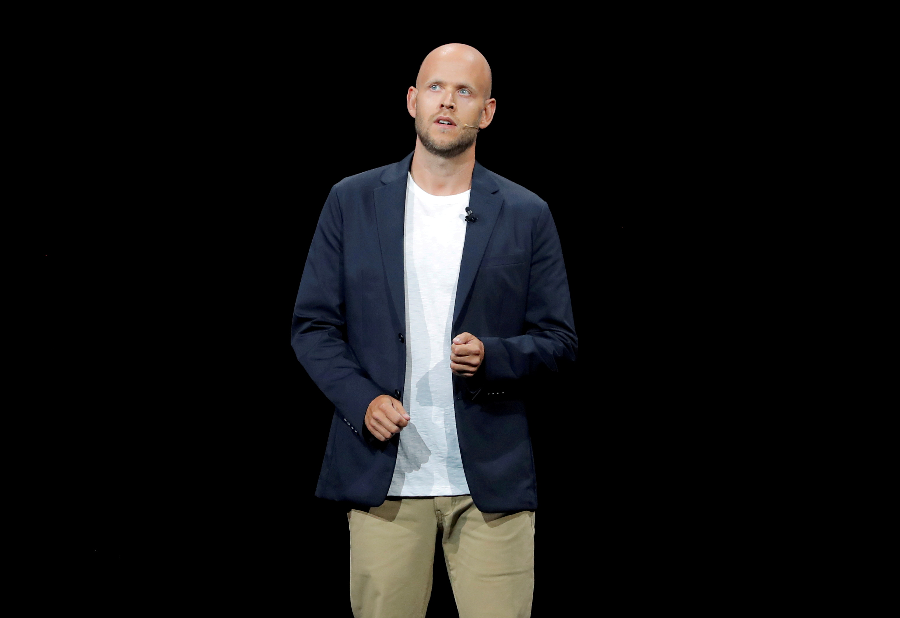 Daniel Ek, CEO of Spotify speaks at an event in Brooklyn, New York, U.S., August 9, 2018. REUTERS/Lucas Jackson/File Photo