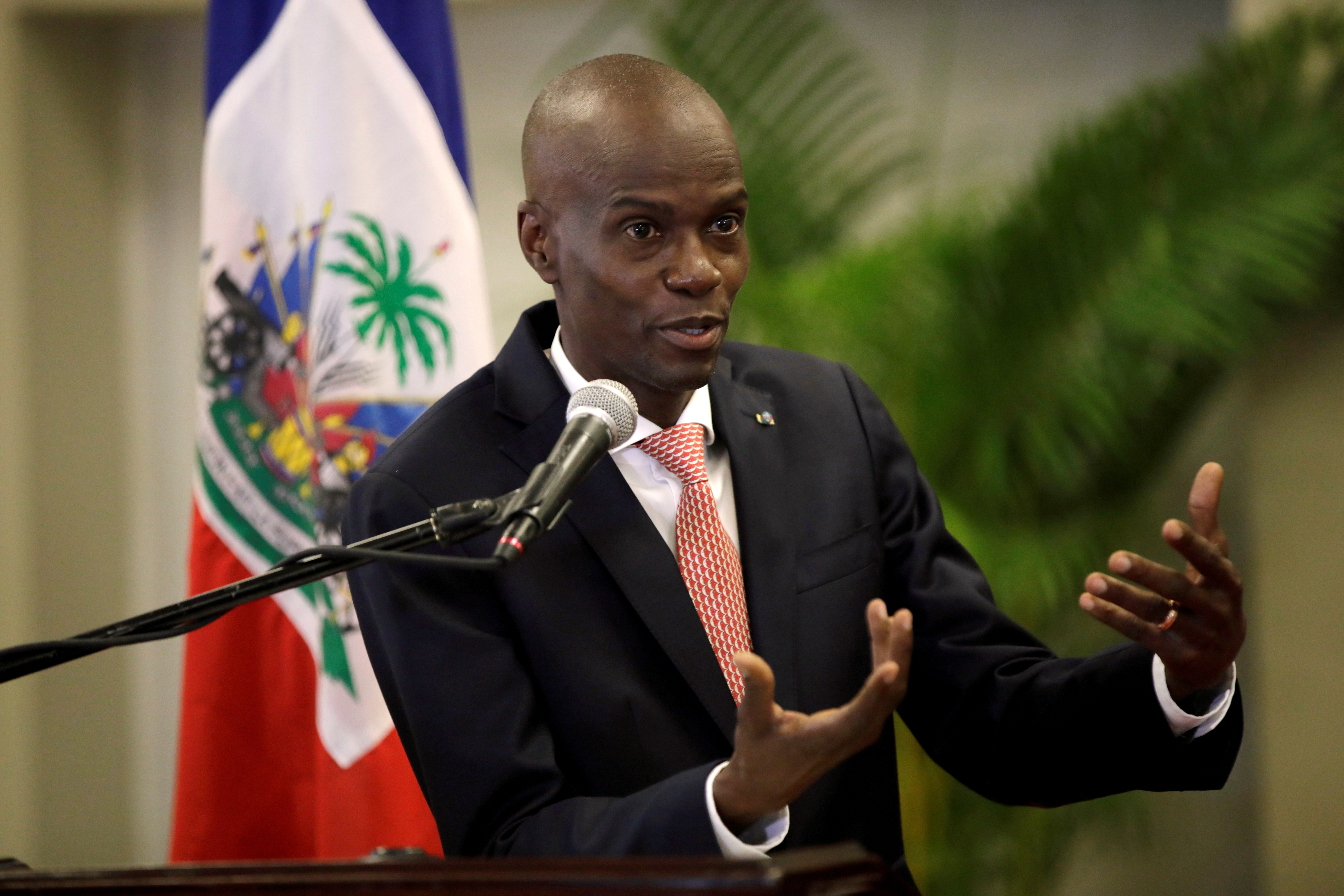 Haiti's President Jovenel Moise speaks during a news conference to provide information about the measures concerning coronavirus, at the National Palace in Port-au-Prince, Haiti March 2, 2020. REUTERS/Andres Martinez Casares/