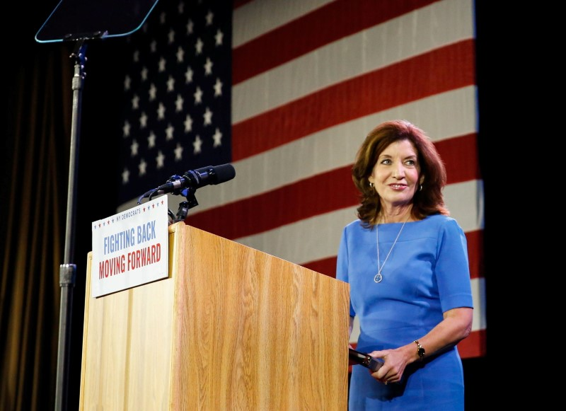 Democratic Lt. Governor Kathy Hochul addresses the crowd after news of her reelection at the midterm election night party in New York City, U.S. November 6, 2018. REUTERS/Caitlin Ochs