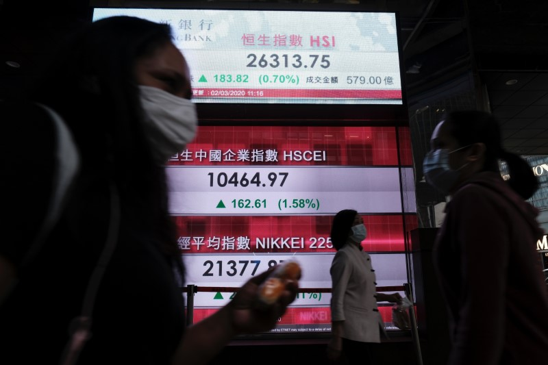 People wear protective masks as they walk past a panel displaying the Hang Seng Index during morning trading following the outbreak of the new coronavirus in Hong Kong, China March 2, 2020. REUTERS/Tyrone Siu