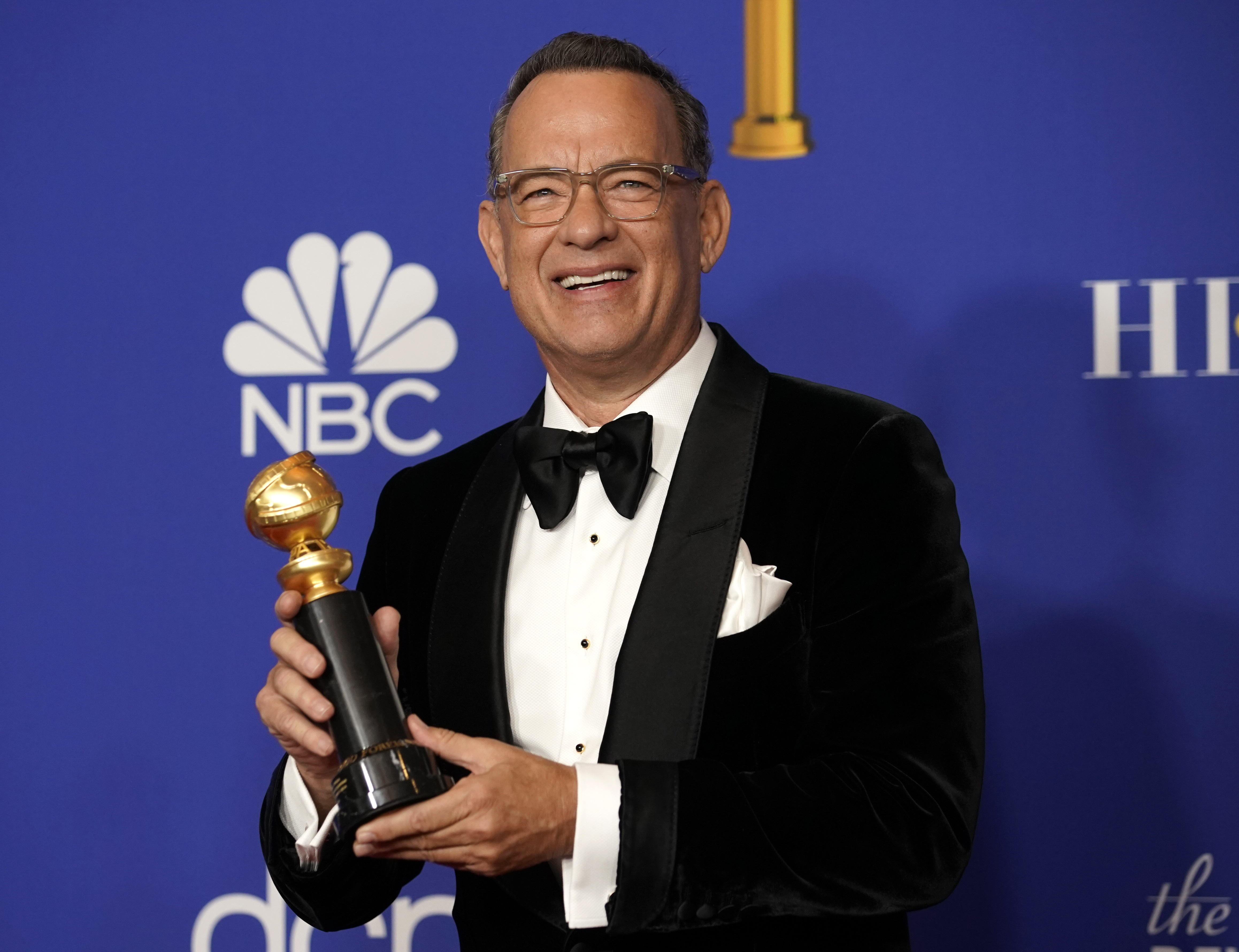 Tom Hanks poses backstage with his Cecil B. DeMille award, Beverly Hills, California, January 5, 2020 - REUTERS/Mike Blake