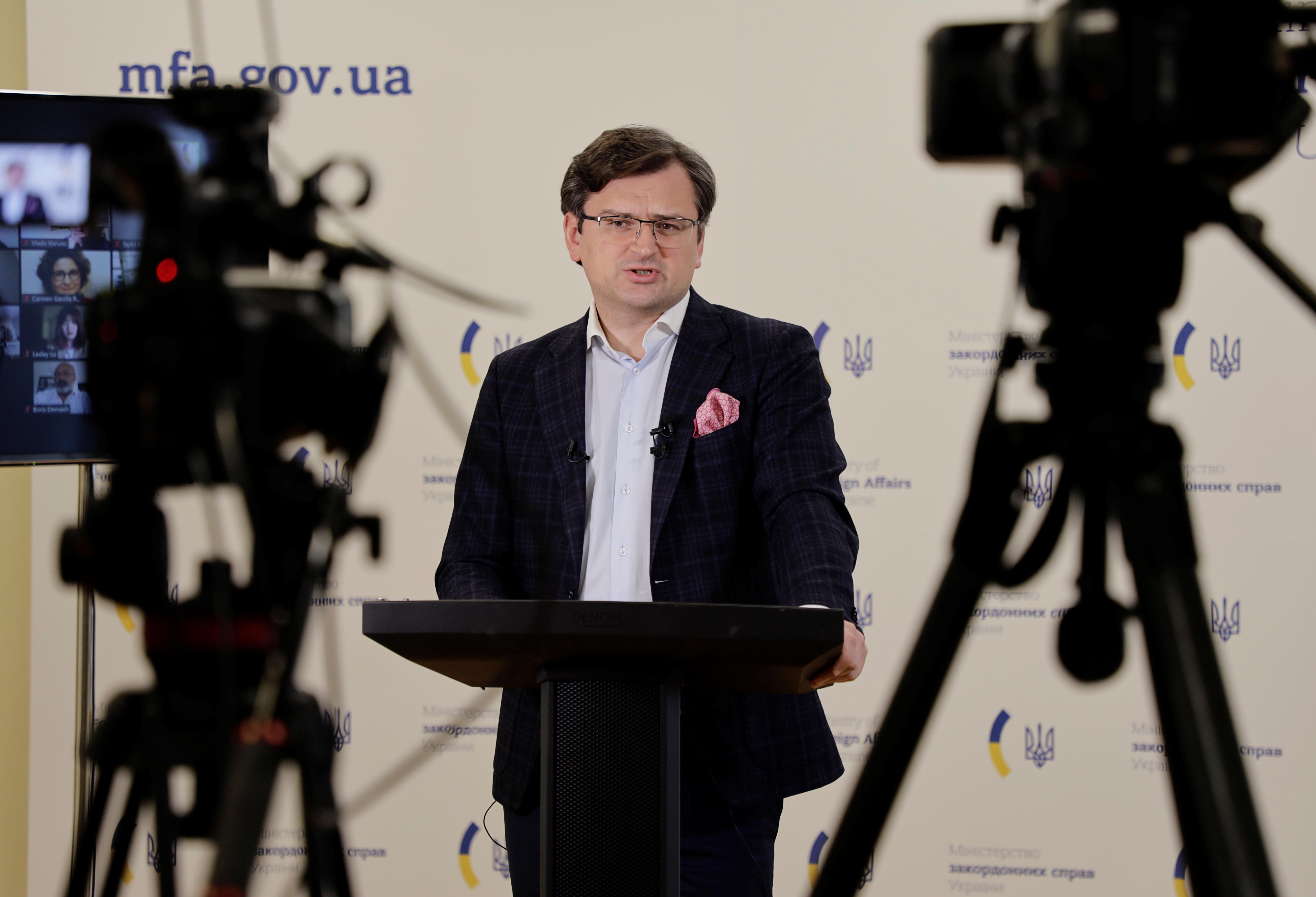 Ukrainian Foreign Minister Dmytro Kuleba speaks during a news conference in Kyiv, Ukraine April 20, 2021. REUTERS/Sergei Karazy