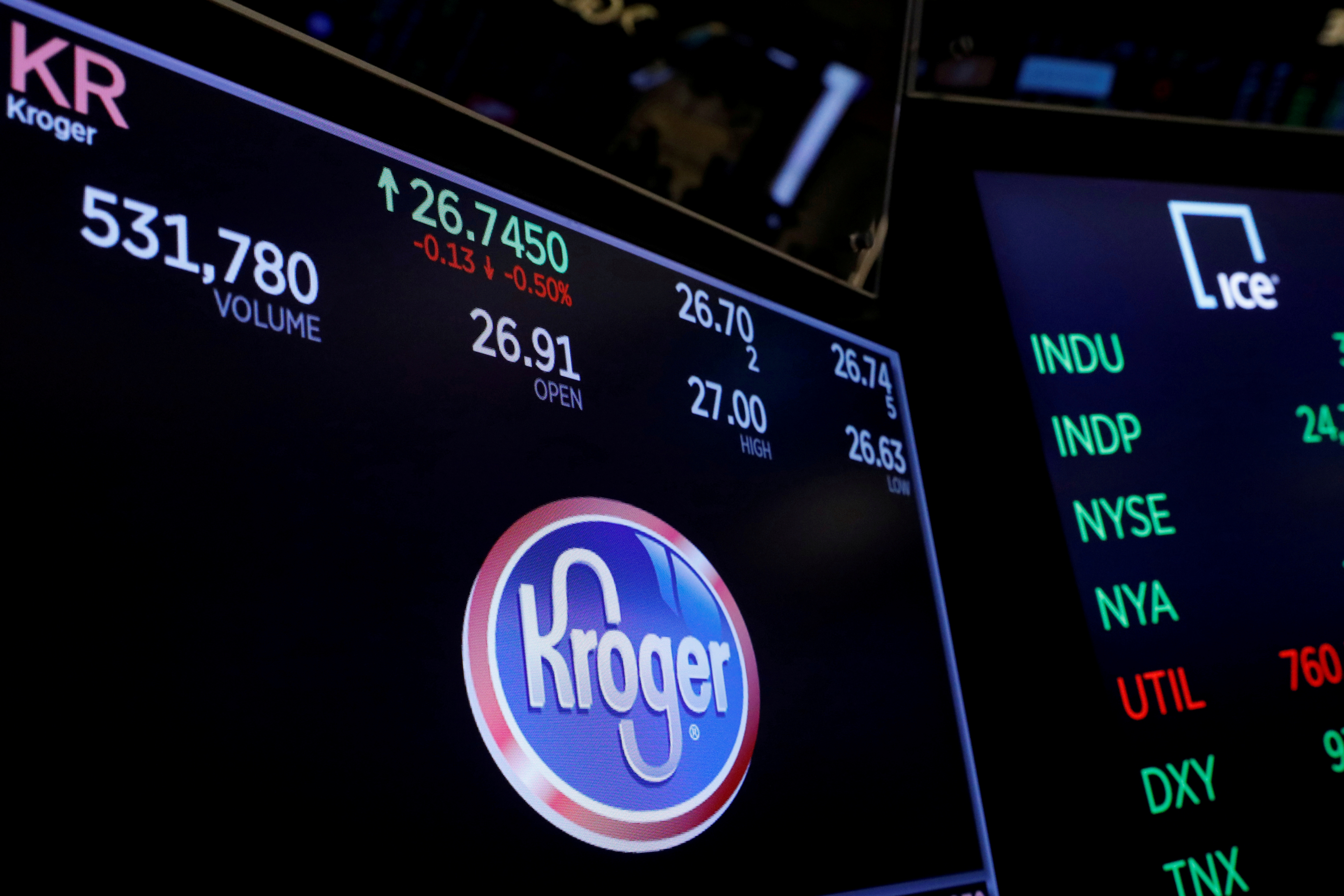 A logo of Kroger is displayed on a monitor above the floor of the New York Stock Exchange shortly after the opening bell in New York, U.S., December 5, 2017.  REUTERS/Lucas Jackson/File Photo