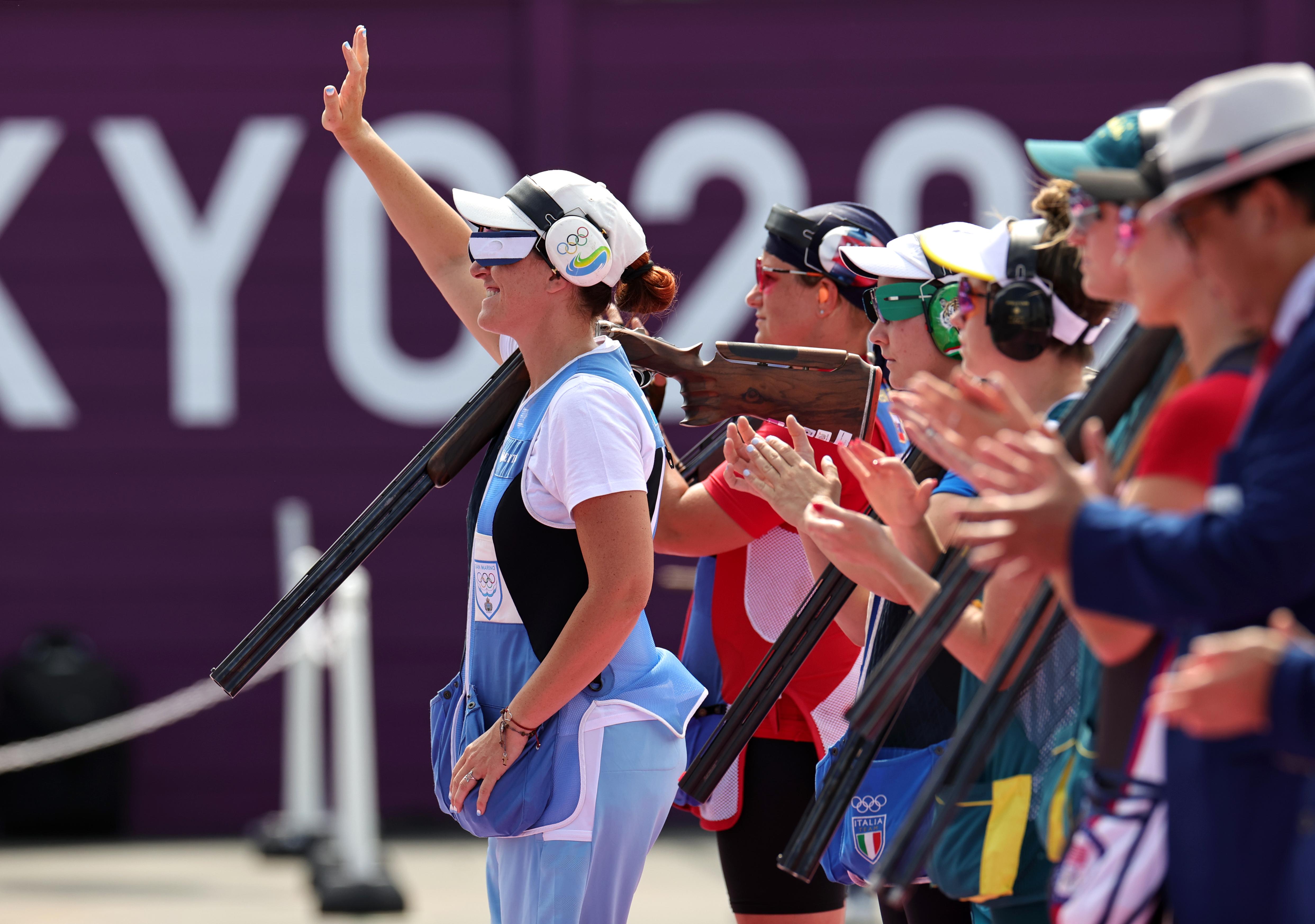 Tokyo 2020 Olympics - Shooting - Women's Trap - Final - Asaka Shooting Range, Tokyo, Japan - July 29, 2021. Alessandra Perilli of San Marino REUTERS/Ann Wang