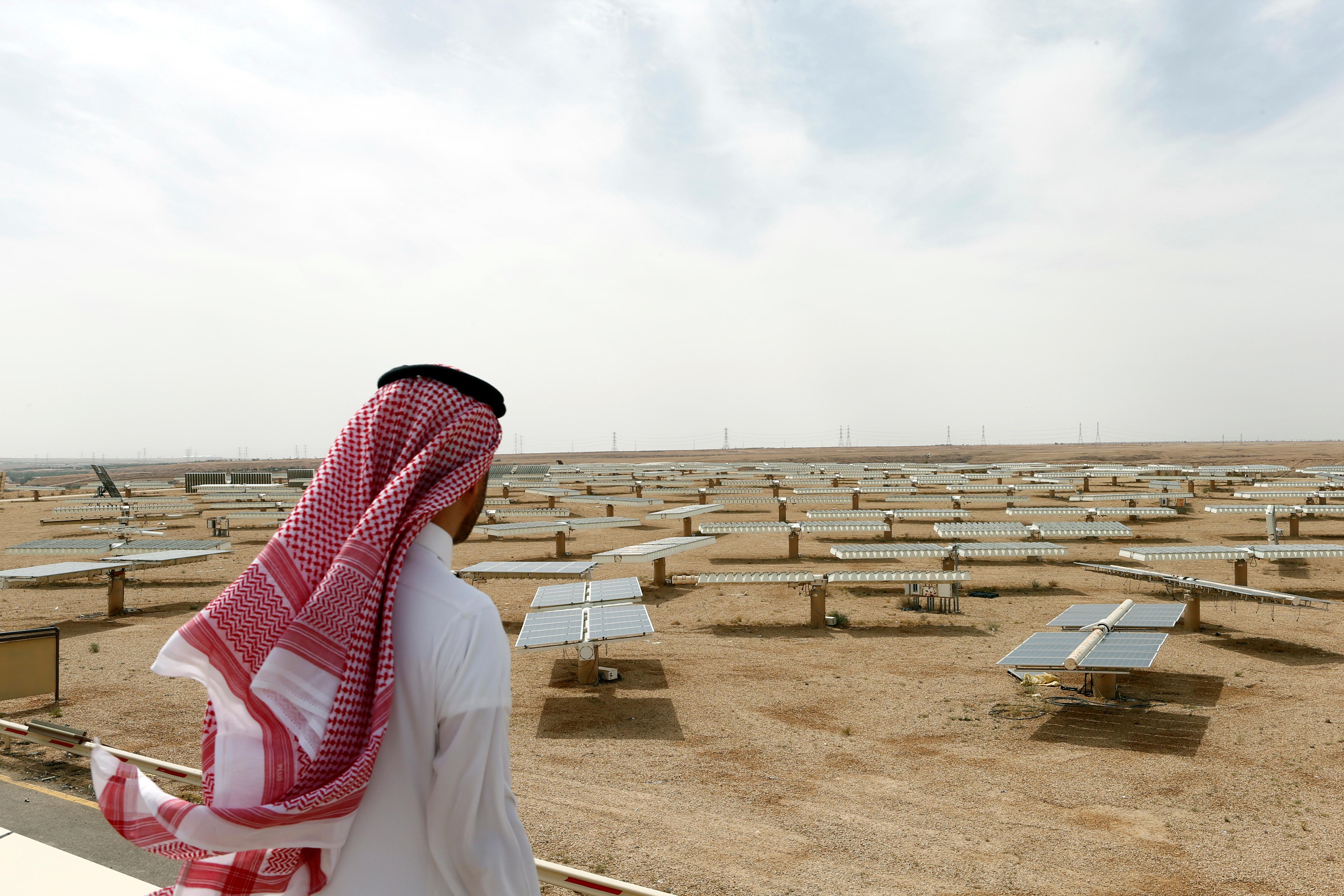 A Saudi man looks at a solar plant in Uyayna, north of Riyadh, Saudi Arabia, April 10, 2018. REUTERS/Faisal Al Nasser