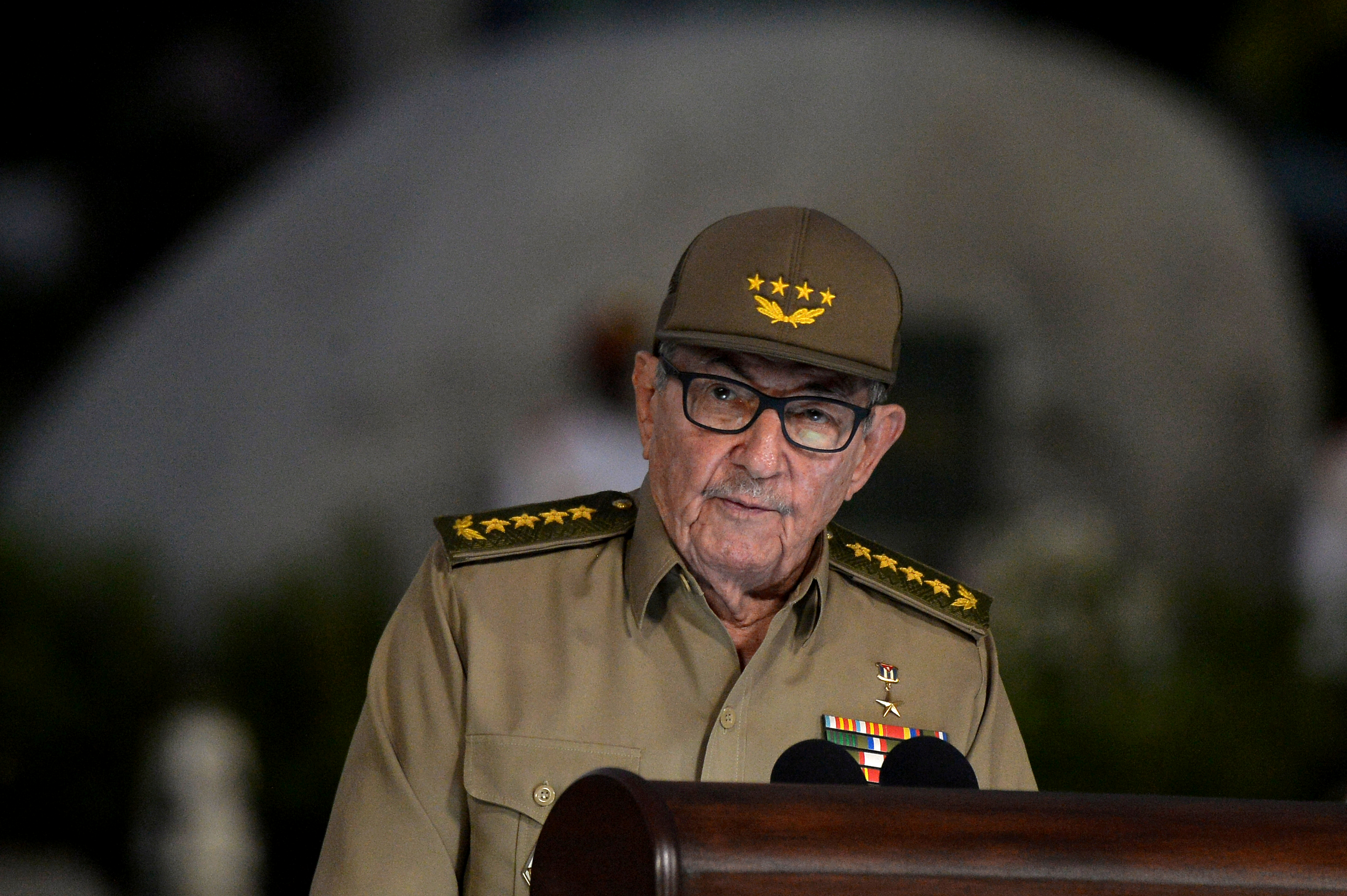 Cuban First Secretary of Communist Party Raul Castro Ruz gives a speech, on January 01, 2019, during the celebration of 60th Anniversary of Cuban Revolution at Santa Ifigenia Cemetery in Santiago de Cuba.  Yamil Lage/Pool via Reuters/File Photo