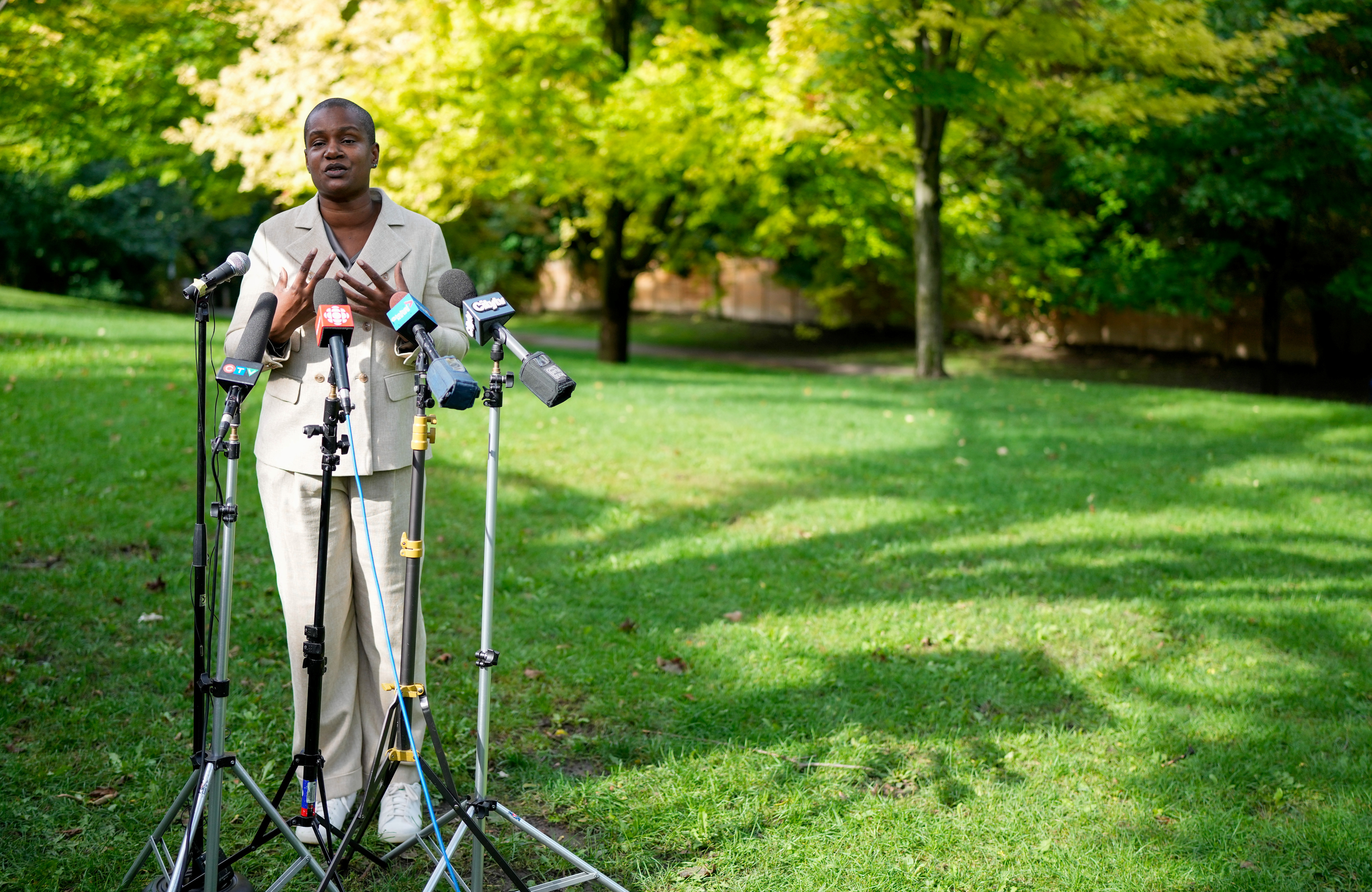 Green Party leader Annamie Paul makes an announcement following the federal election, at a park in Toronto, Ontario, Canada,  September 27, 2021.  REUTERS/Chris Helgren