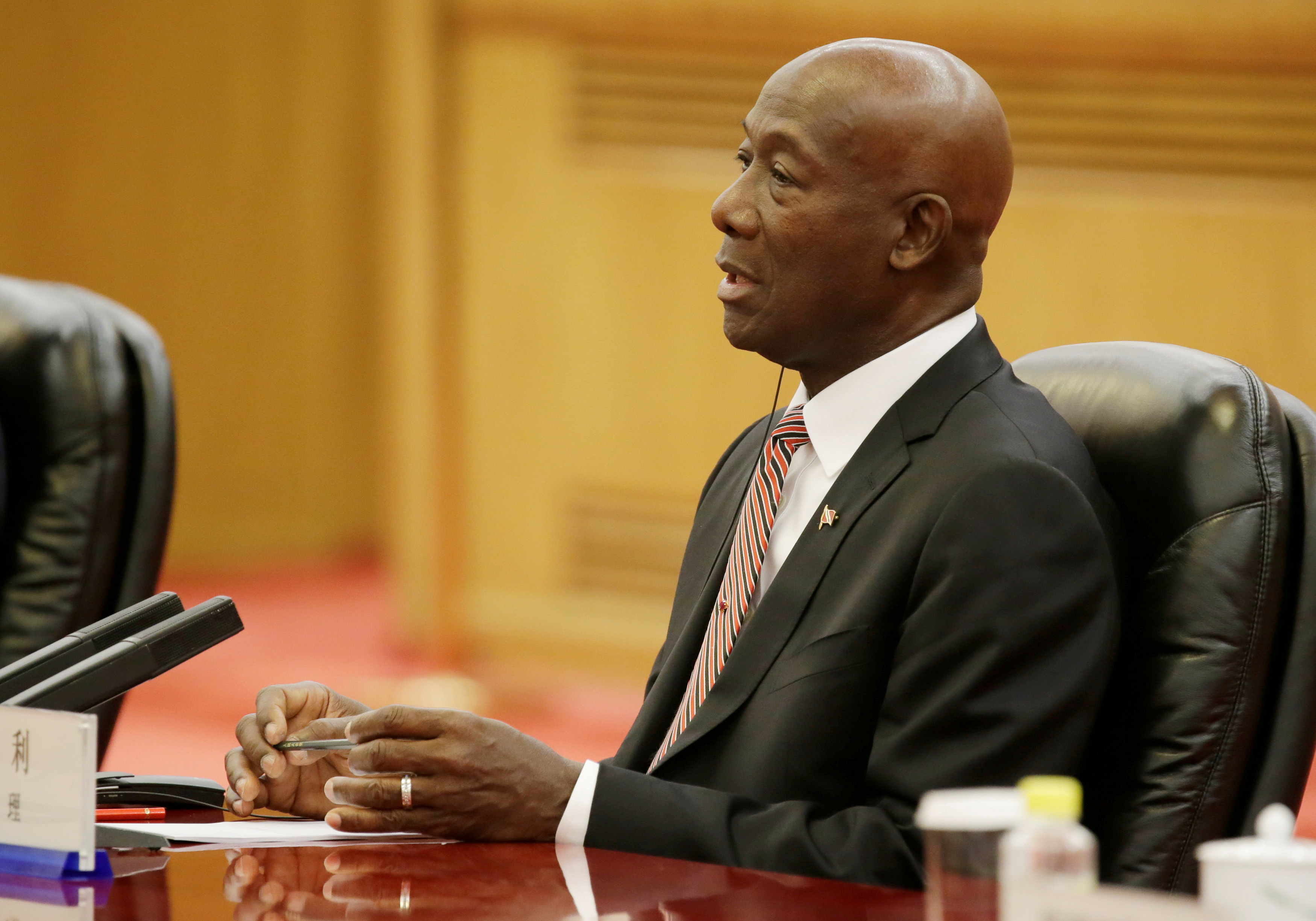 Trinidad and Tobago Prime Minister Keith Rowley speaks during a meeting with China's Premier Li Keqiang (not pictured) at the Great Hall of the People in Beijing, China, May 14, 2018. REUTERS/Jason Lee/Pool/File Photo