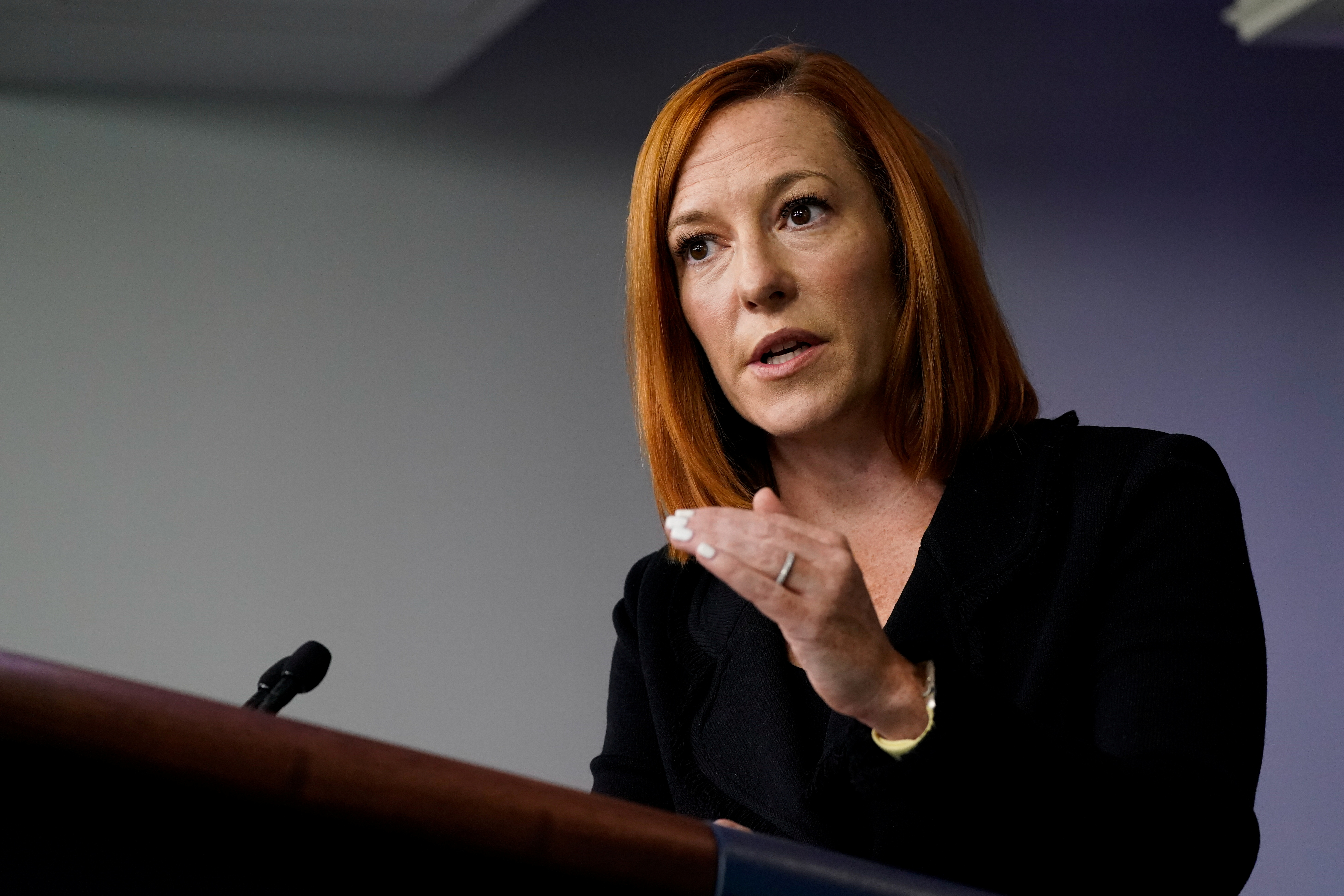 White House press secretary Jen Psaki takes questions during a press briefing at the White House in Washington, U.S., September 20, 2021. REUTERS/Elizabeth Frantz
