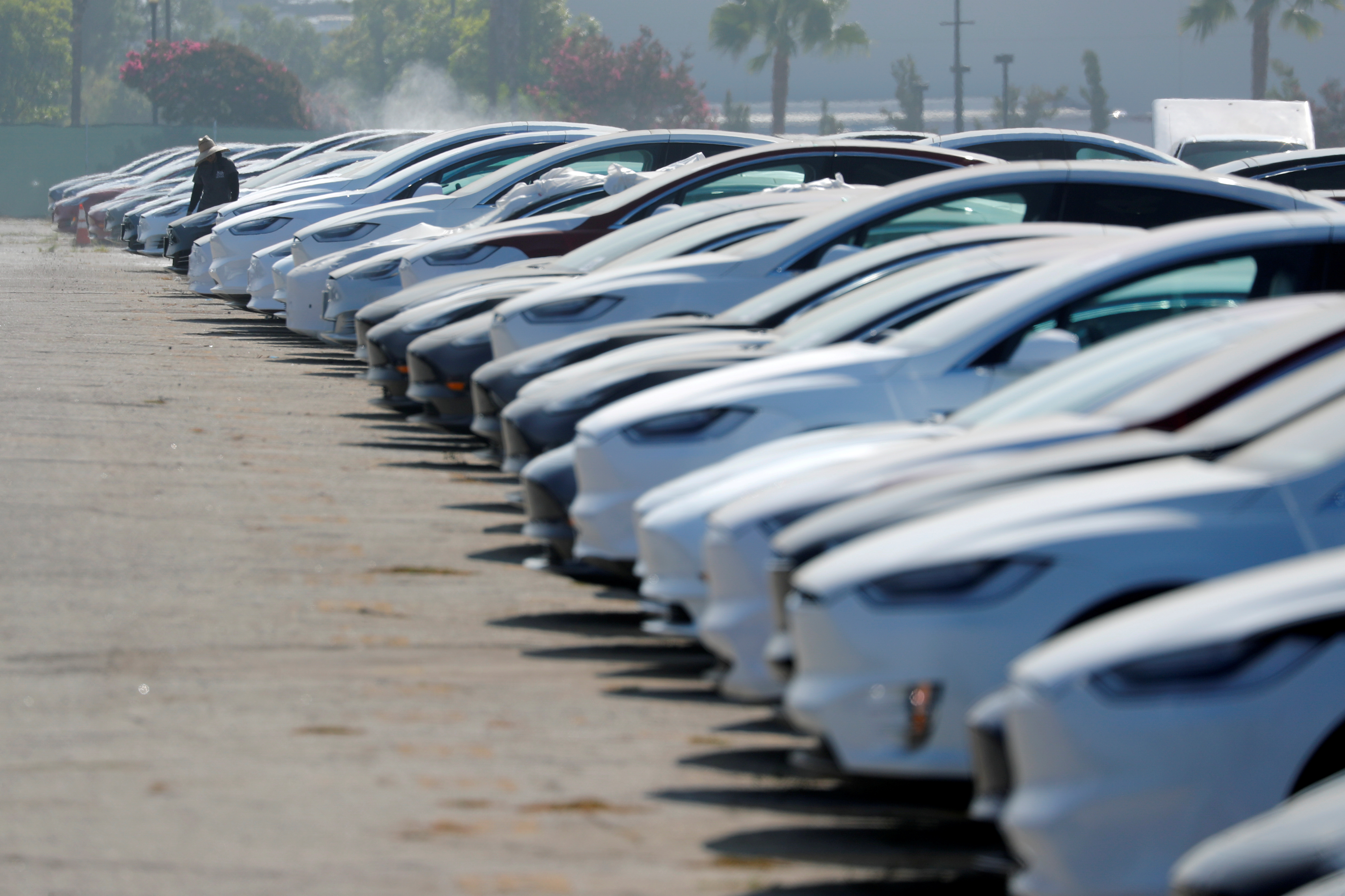 Newly manufactured Tesla vehicles are shown parked in a large lot next to the airport in Burbank, California, U.S. August 24, 2018. REUTERS/Mike Blake/File Photo