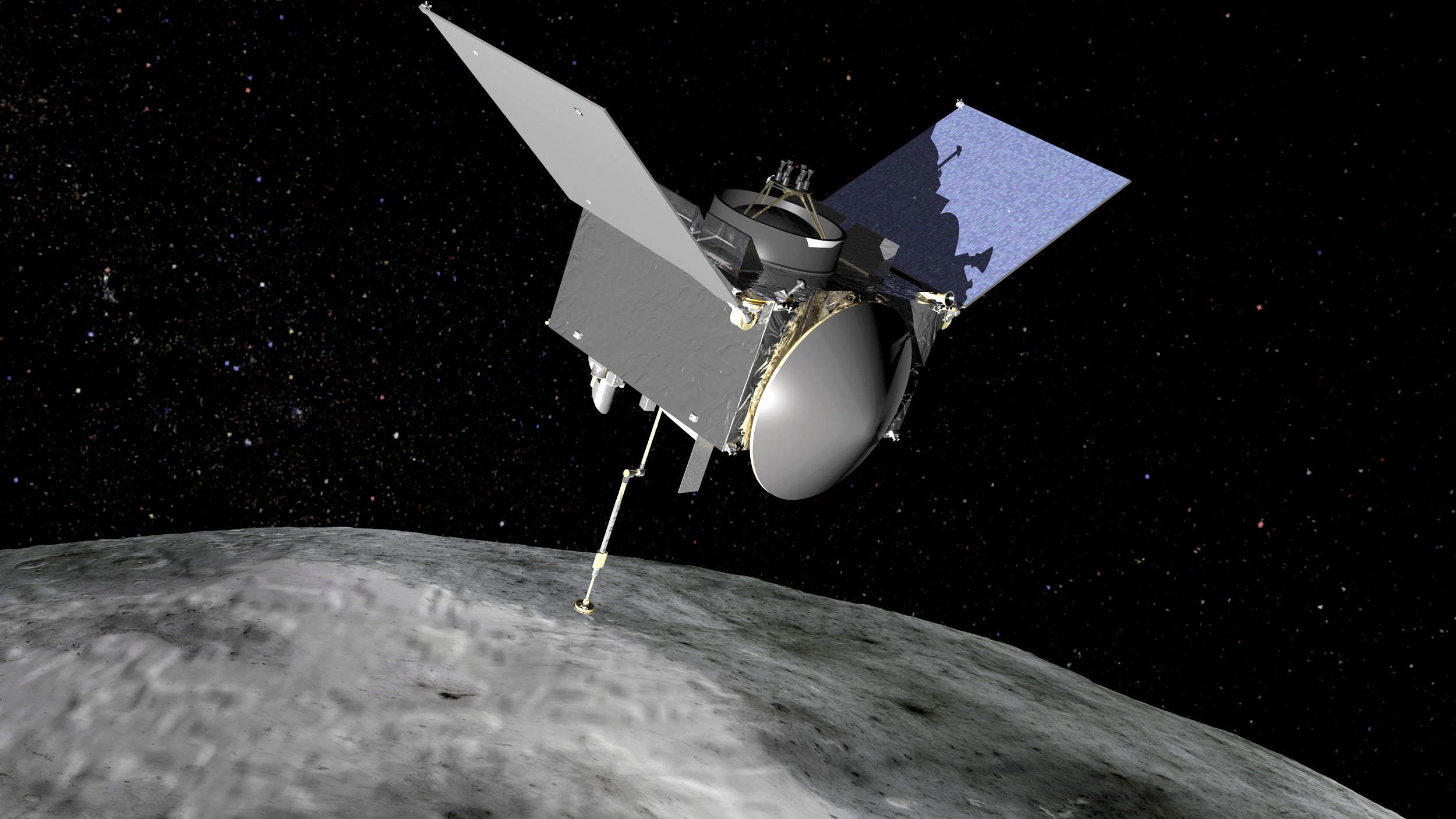 The Origins, Spectral Interpretation, Resource Identification, Security-Regolith Explorer (OSIRIS-REx) spacecraft which will travel to the near-Earth asteroid Bennu and bring a sample back to Earth for study is seen in an undated NASA artist rendering.   NASA/Handout via Reuters
