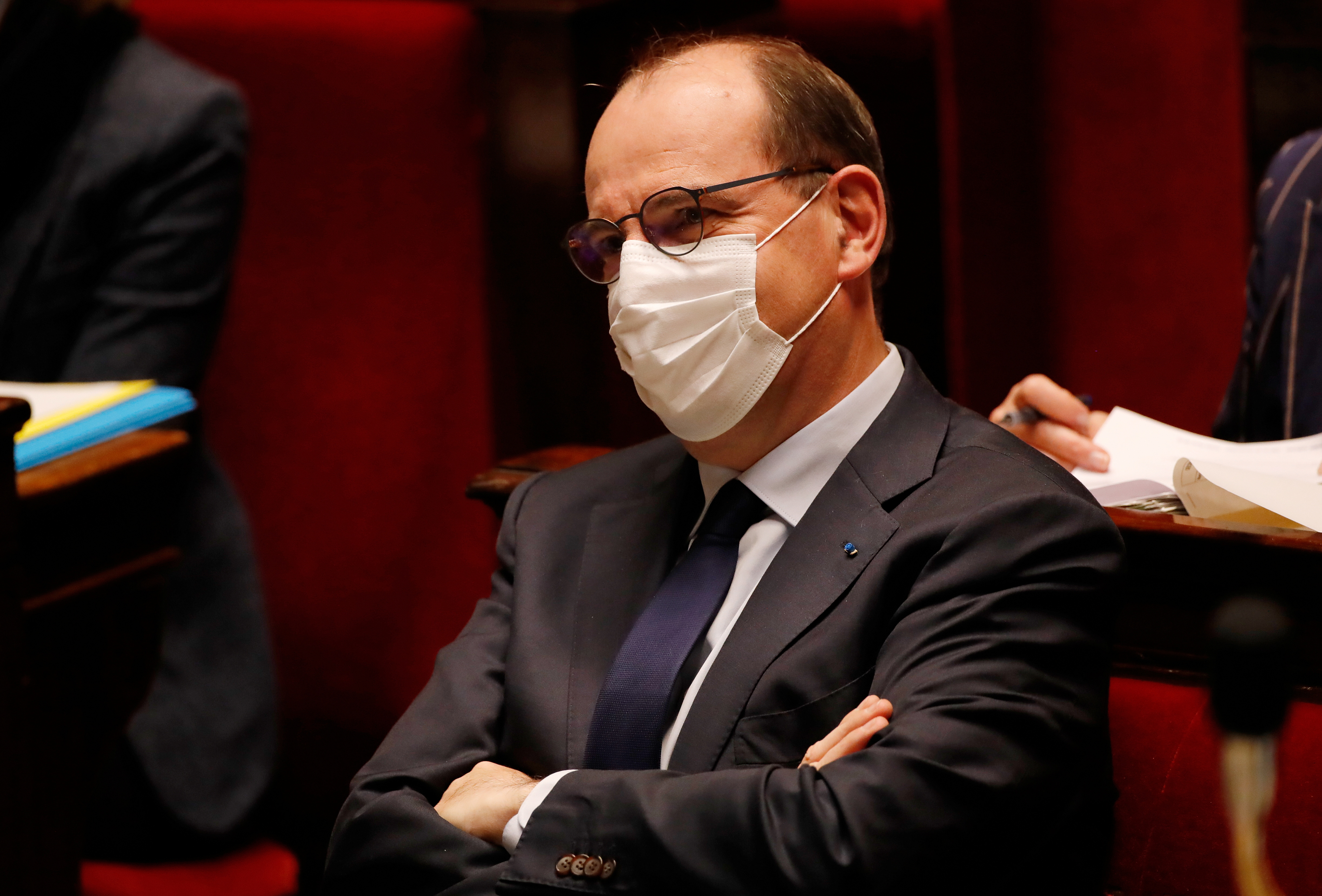 French Prime Minister Jean Castex, wearing a protective face mask, attends the questions to the government session before a final vote on controversial climate change bill at the National Assembly in Paris, France, May 4, 2021. REUTERS/Sarah Meyssonnier