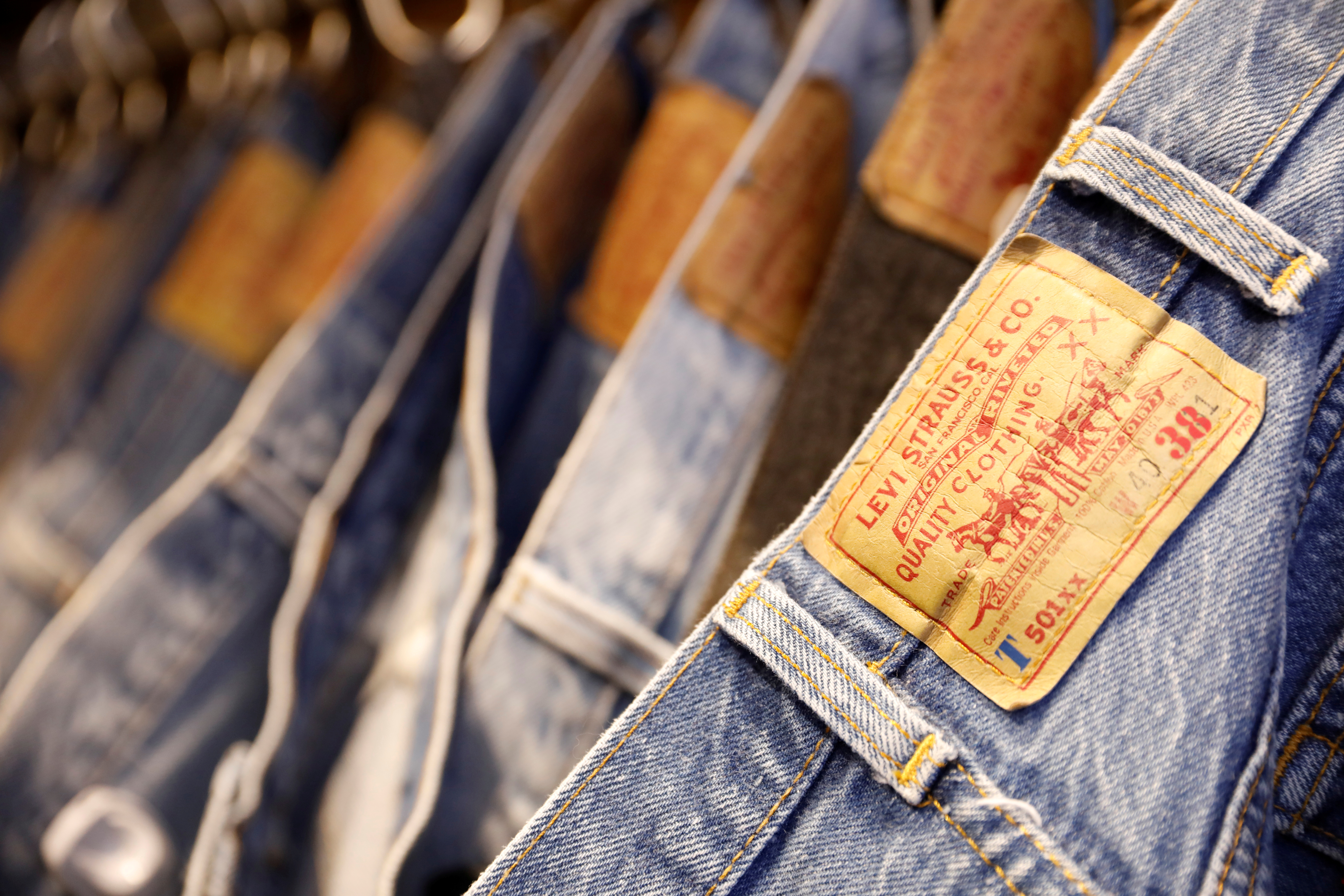 Jeans are displayed at a Levi Strauss store in New York, U.S., March 19, 2019. REUTERS/Shannon Stapleton